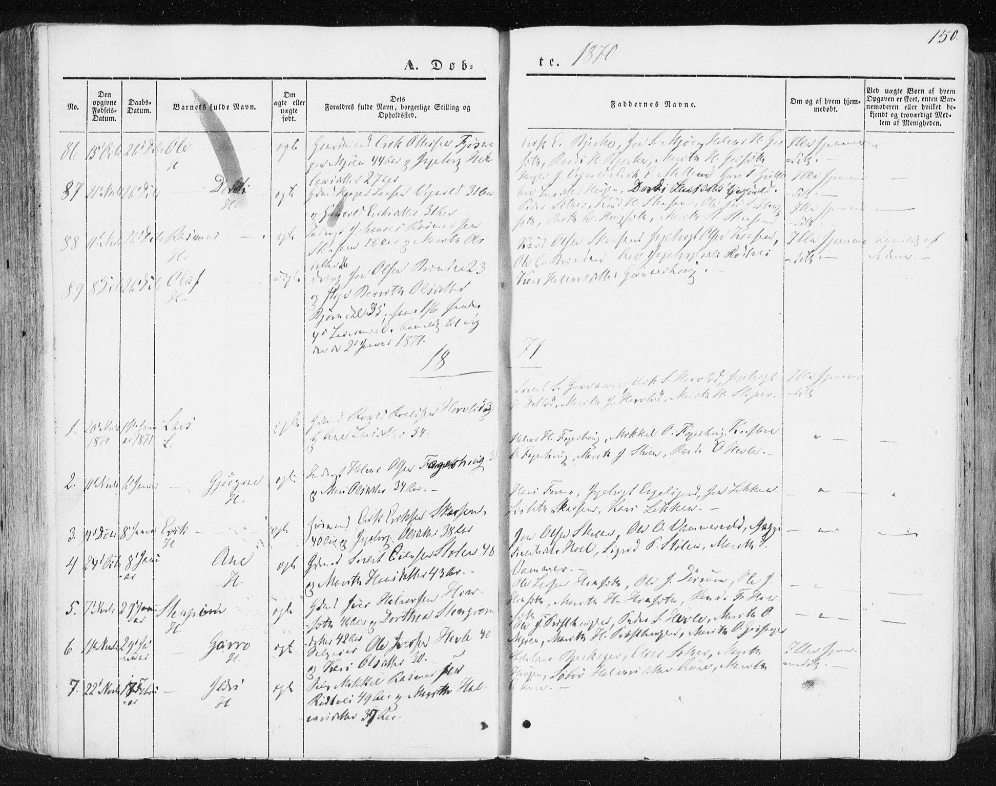 SAT, Ministerialprotokoller, klokkerbøker og fødselsregistre - Sør-Trøndelag, 678/L0899: Ministerialbok nr. 678A08, 1848-1872, s. 150