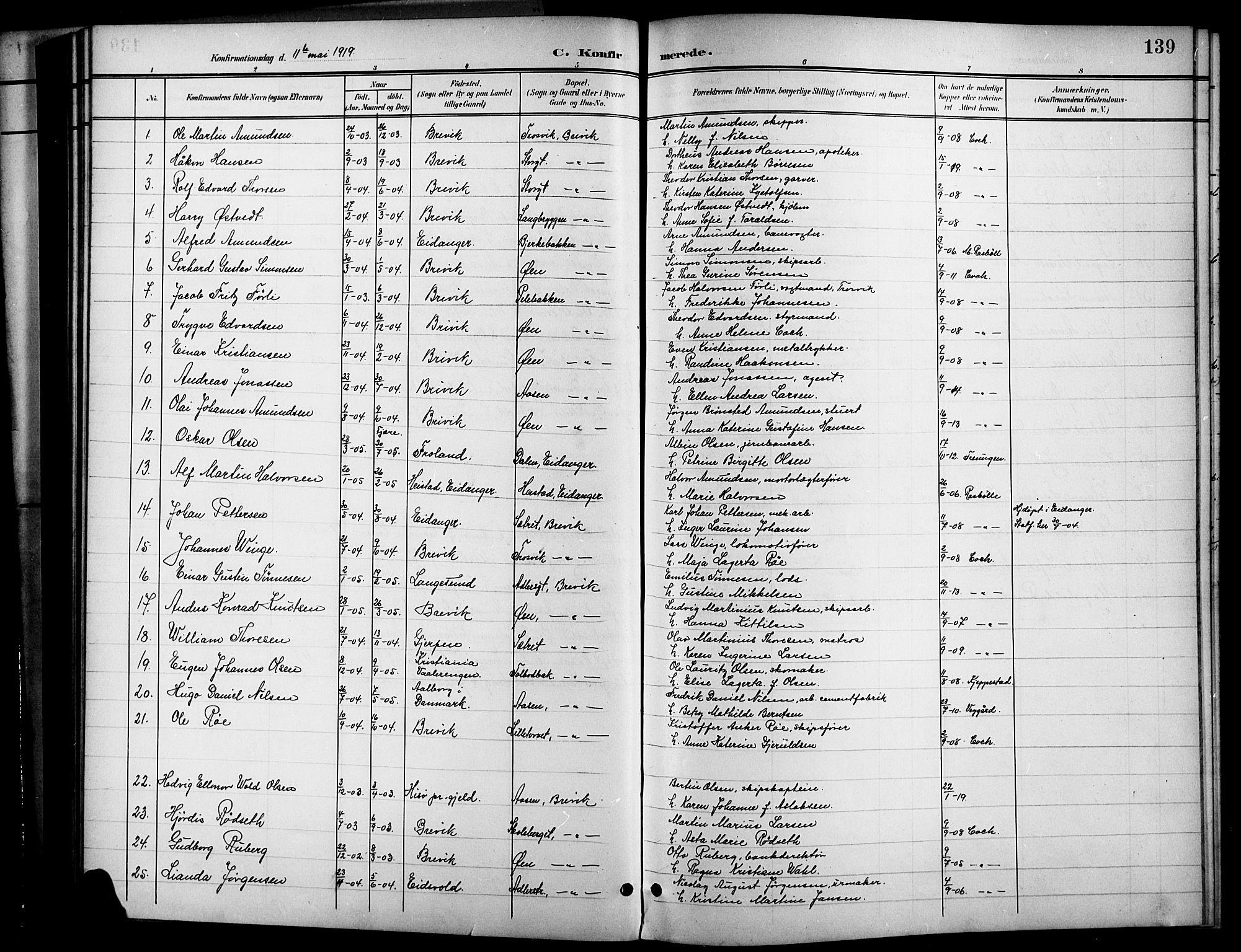 SAKO, Brevik kirkebøker, G/Ga/L0005: Klokkerbok nr. 5, 1901-1924, s. 139
