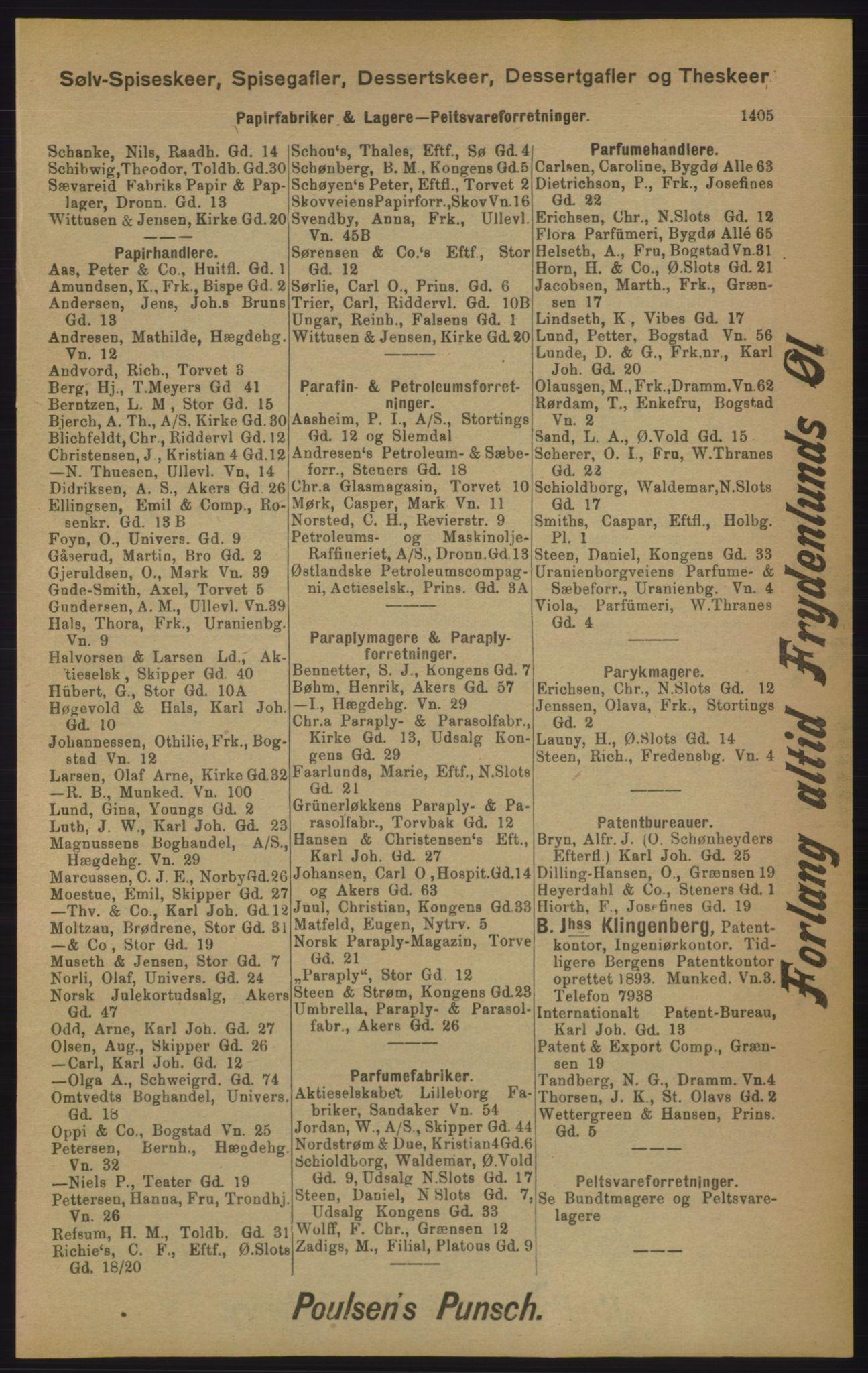 RA, Kristiania adressebok (publikasjon)*, 1905, s. 1405