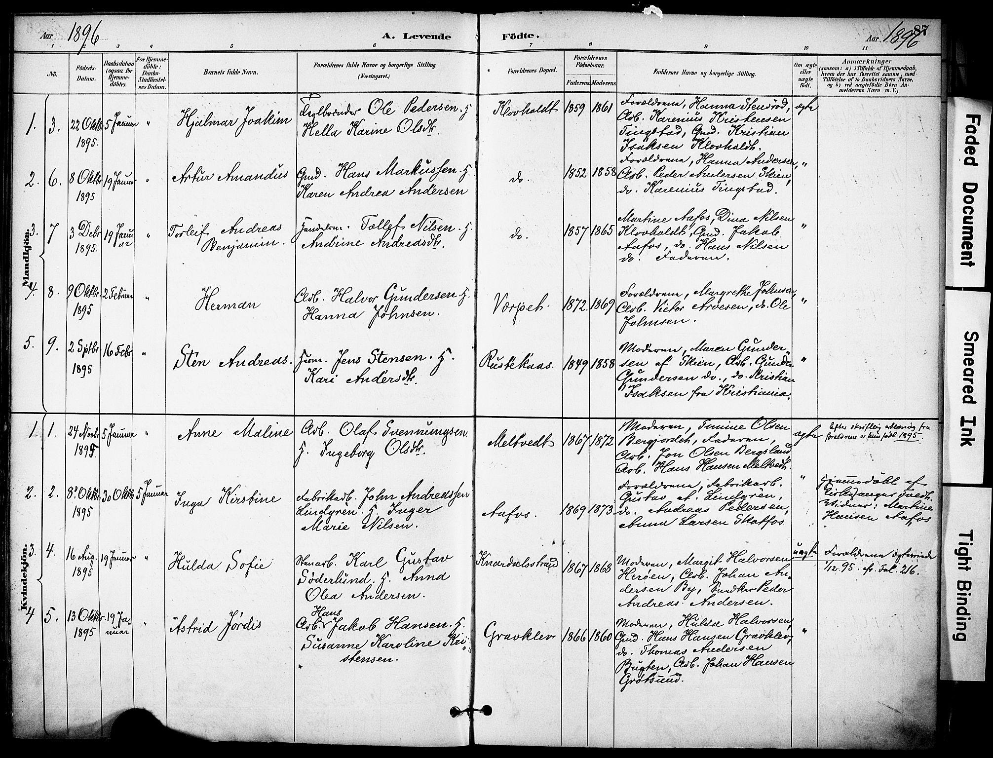 SAKO, Solum kirkebøker, F/Fa/L0010: Ministerialbok nr. I 10, 1888-1898, s. 87