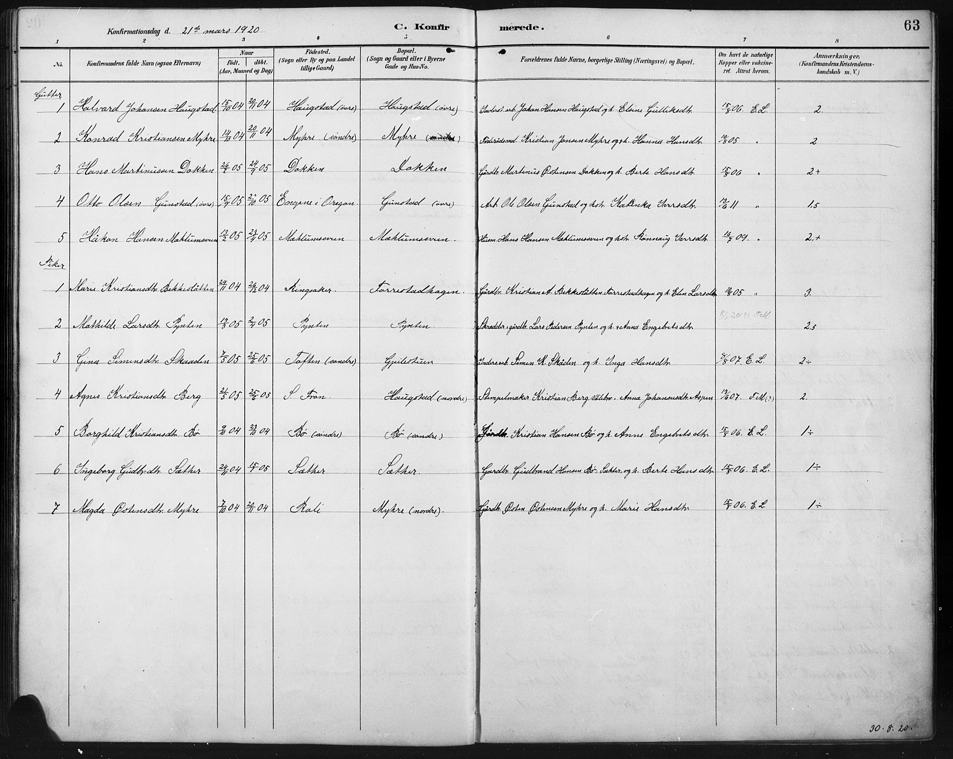 SAH, Ringebu prestekontor, Klokkerbok nr. 8, 1890-1922, s. 63