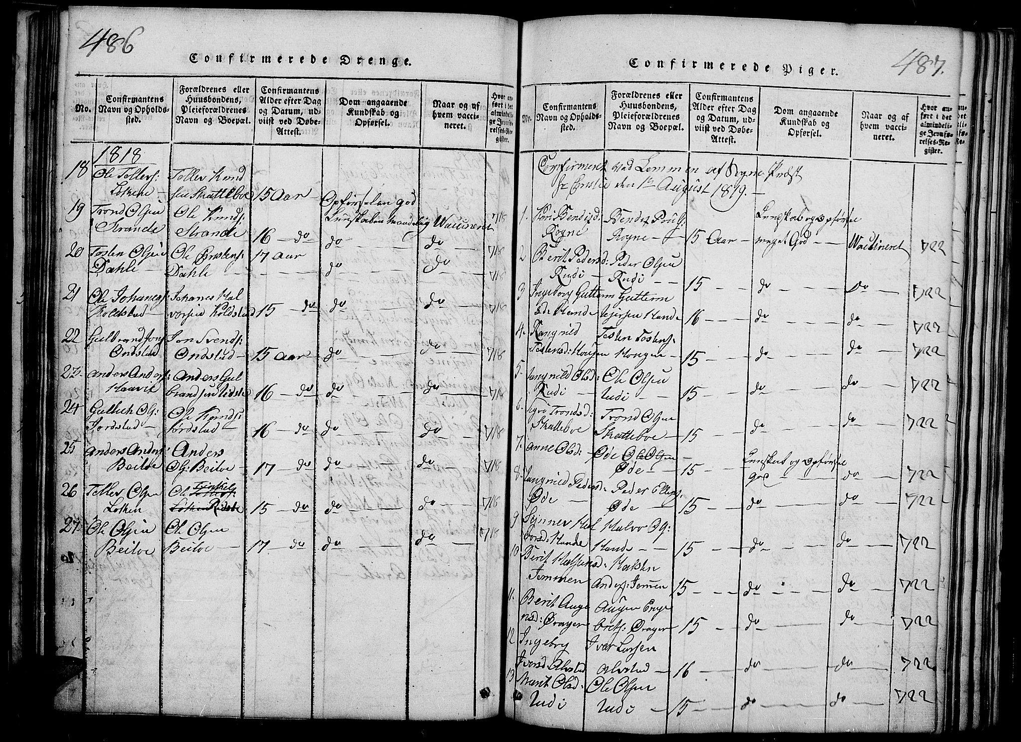 SAH, Slidre prestekontor, Ministerialbok nr. 2, 1814-1830, s. 486-487