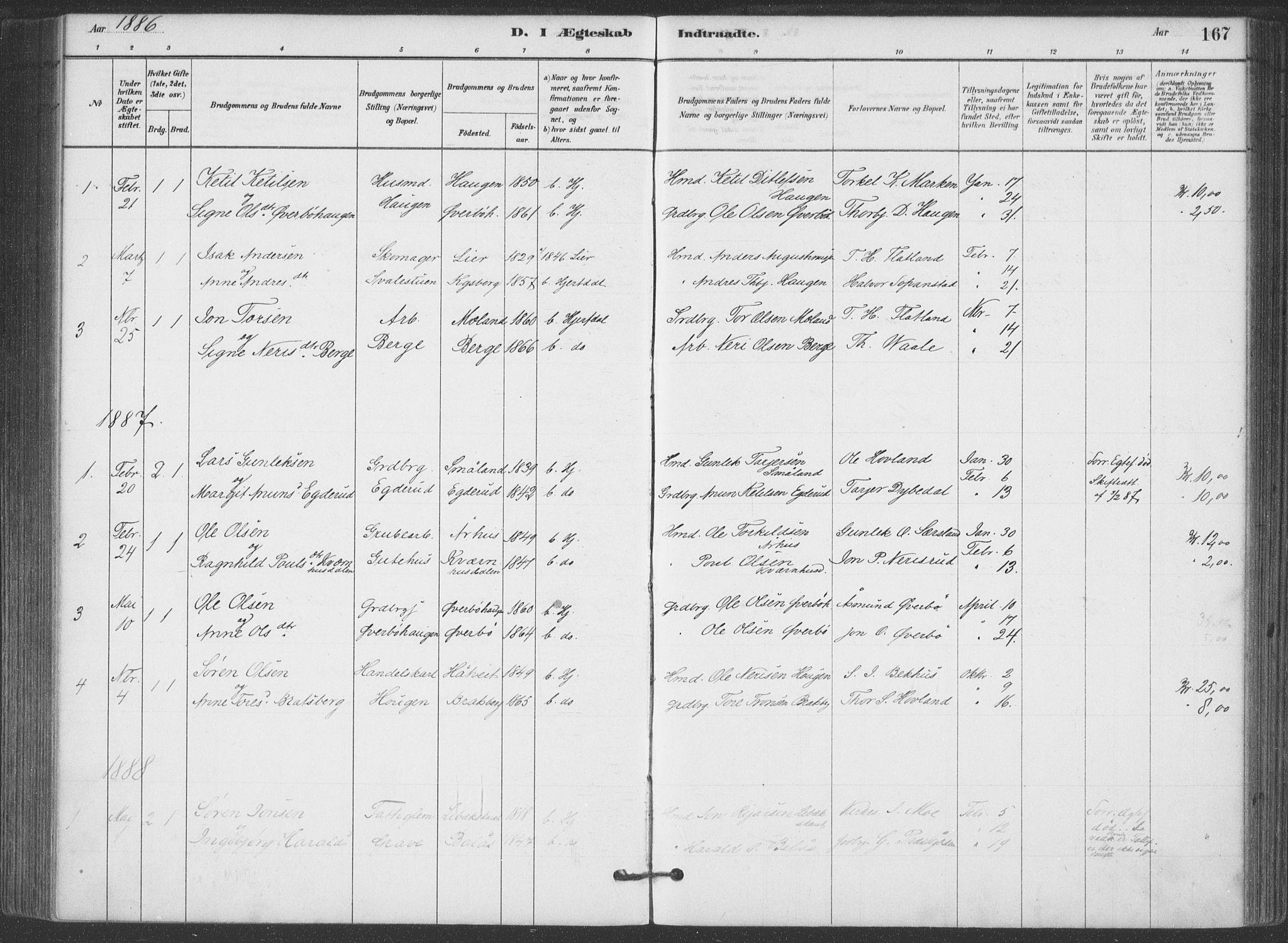 SAKO, Hjartdal kirkebøker, F/Fa/L0010: Ministerialbok nr. I 10, 1880-1929, s. 167