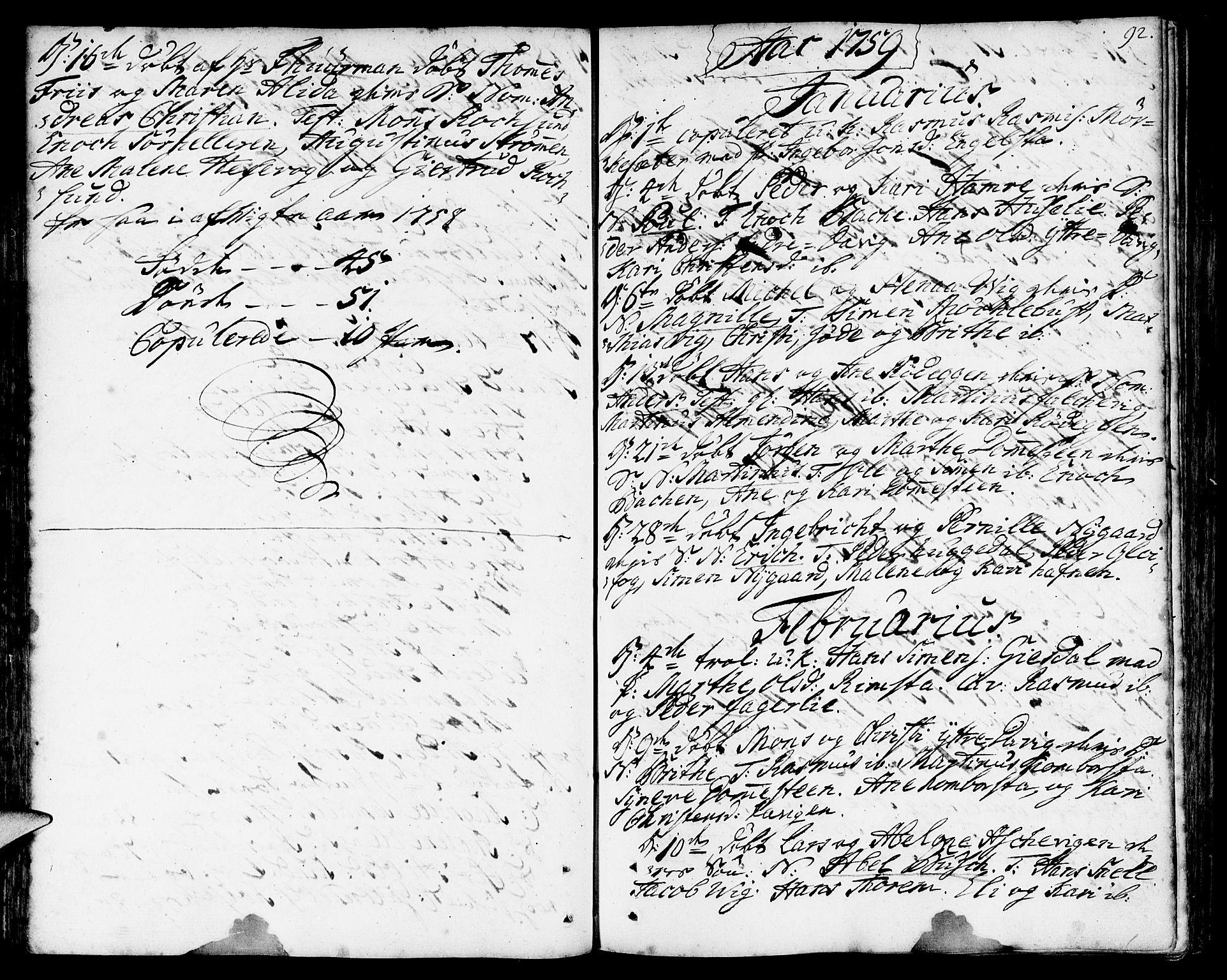 SAB, Davik Sokneprestembete, Ministerialbok nr. A 2, 1742-1816, s. 92