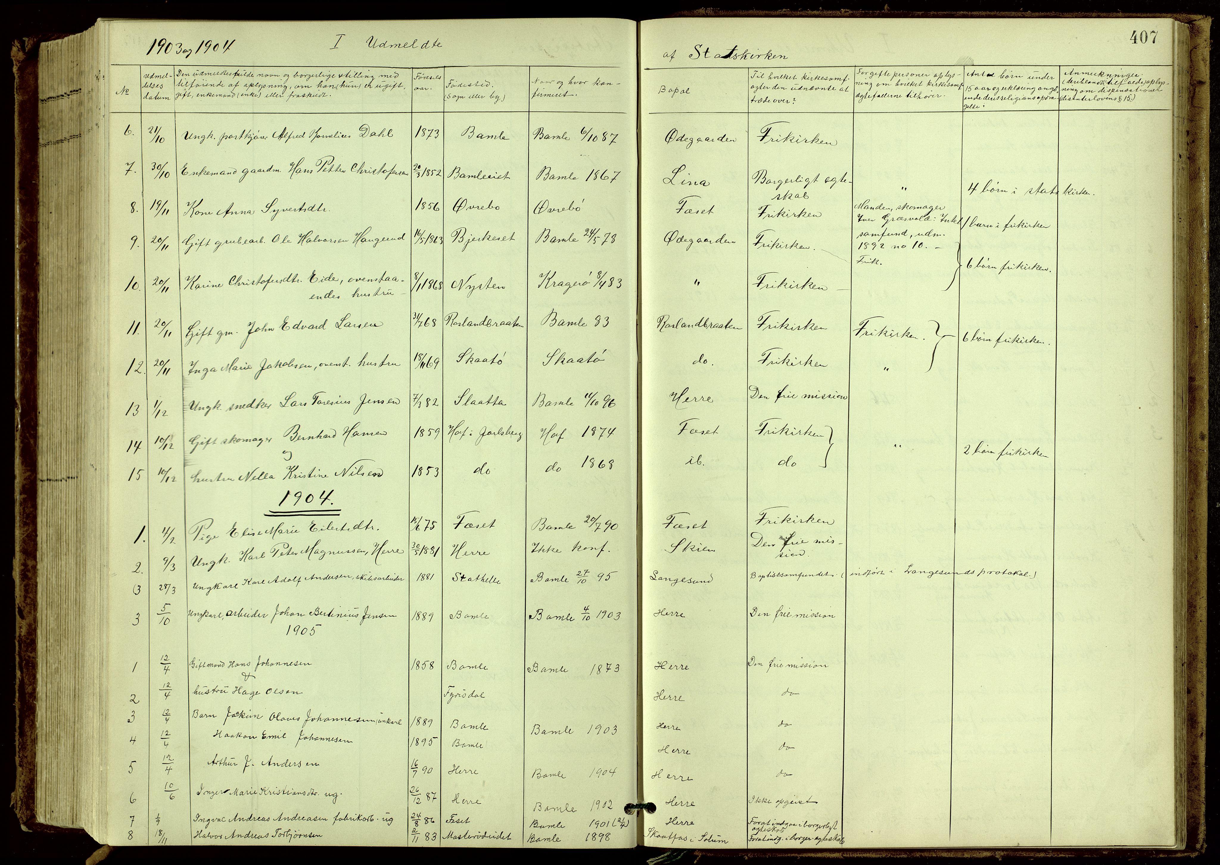 SAKO, Bamble kirkebøker, G/Ga/L0010: Klokkerbok nr. I 10, 1901-1919, s. 407