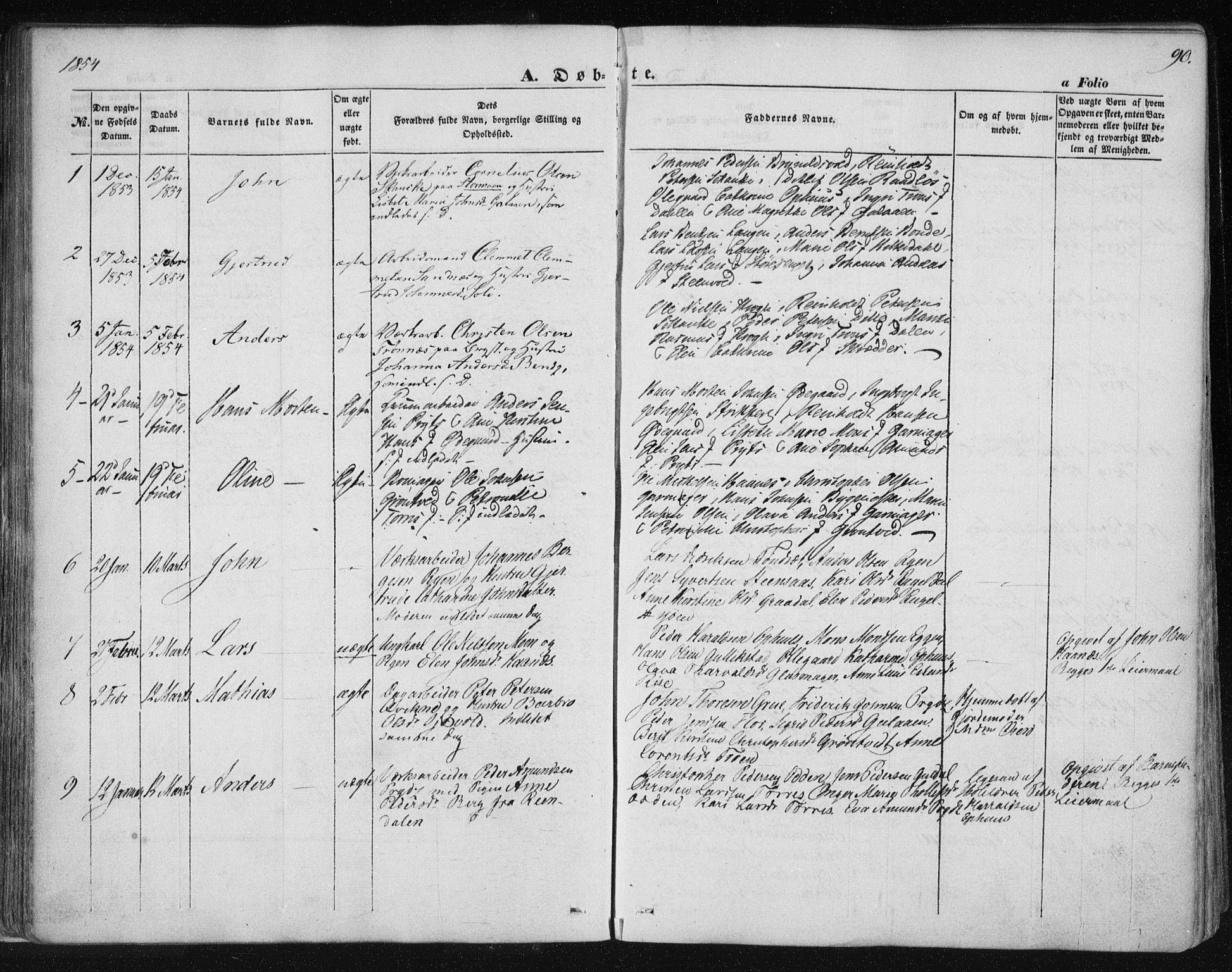SAT, Ministerialprotokoller, klokkerbøker og fødselsregistre - Sør-Trøndelag, 681/L0931: Ministerialbok nr. 681A09, 1845-1859, s. 90