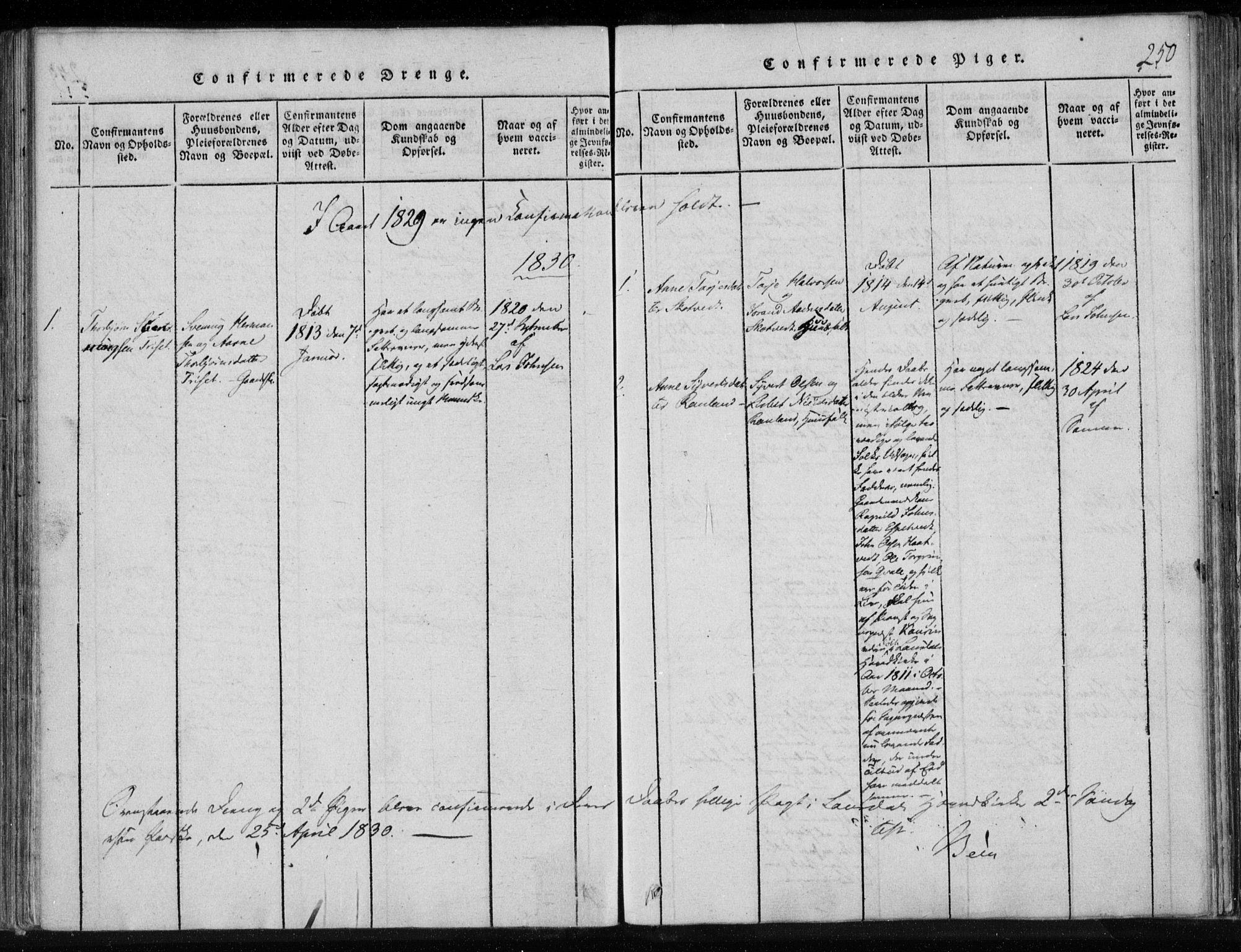 SAKO, Lårdal kirkebøker, F/Fa/L0005: Ministerialbok nr. I 5, 1815-1860, s. 250