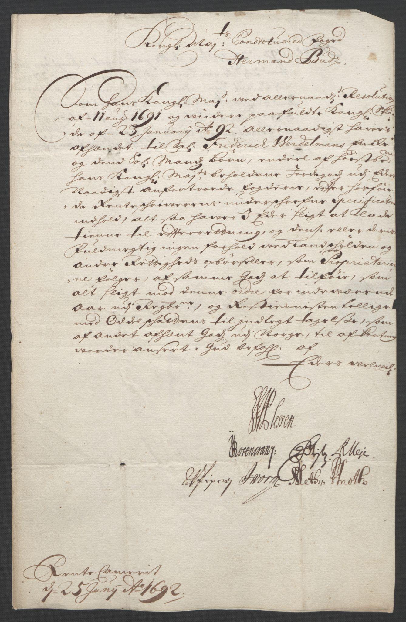 RA, Rentekammeret inntil 1814, Reviderte regnskaper, Fogderegnskap, R18/L1291: Fogderegnskap Hadeland, Toten og Valdres, 1692, s. 8