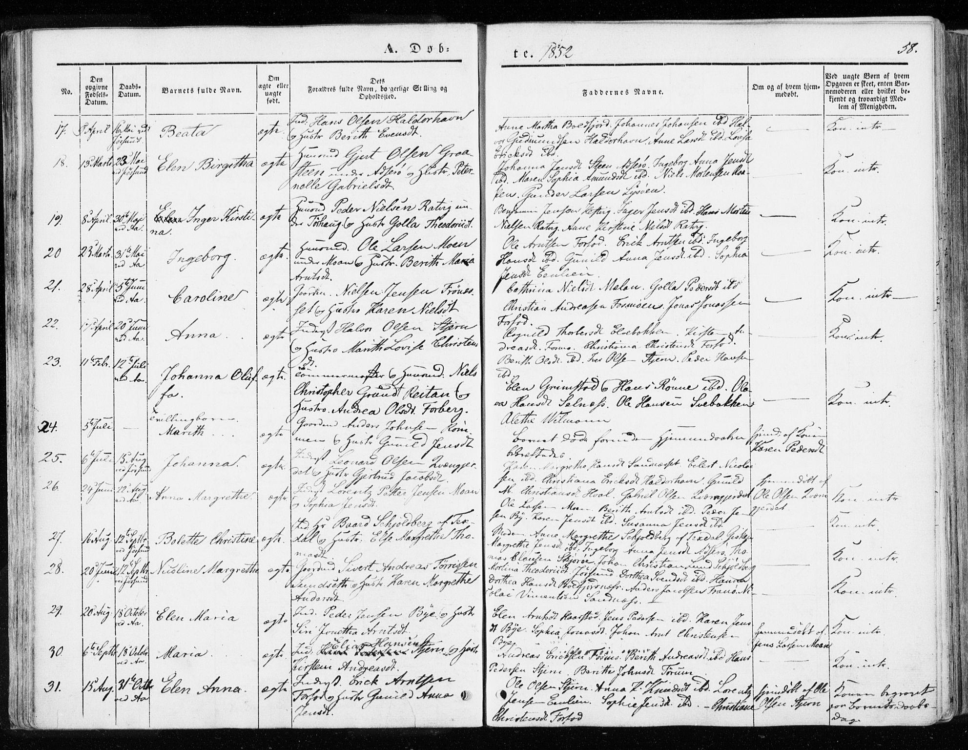 SAT, Ministerialprotokoller, klokkerbøker og fødselsregistre - Sør-Trøndelag, 655/L0677: Ministerialbok nr. 655A06, 1847-1860, s. 58
