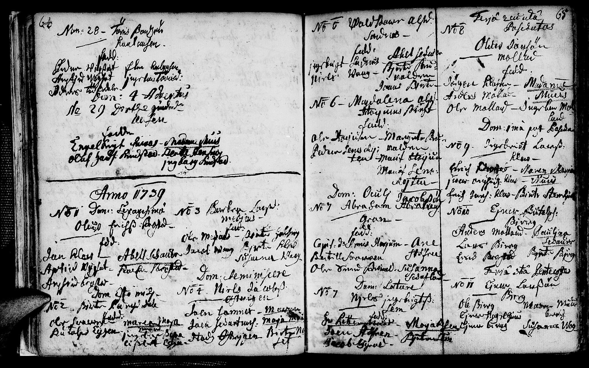 SAT, Ministerialprotokoller, klokkerbøker og fødselsregistre - Nord-Trøndelag, 749/L0467: Ministerialbok nr. 749A01, 1733-1787, s. 64-65