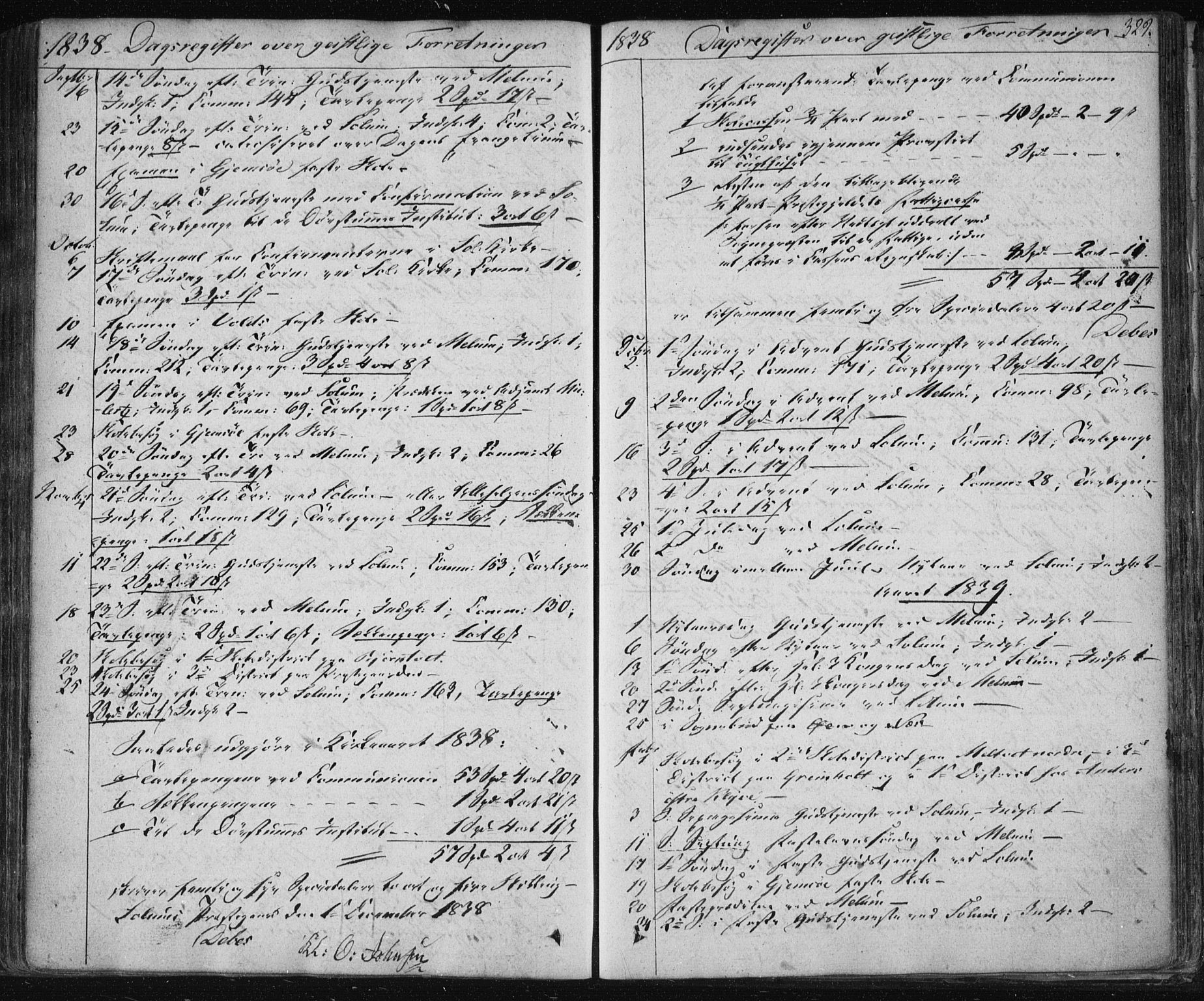 SAKO, Solum kirkebøker, F/Fa/L0005: Ministerialbok nr. I 5, 1833-1843, s. 329