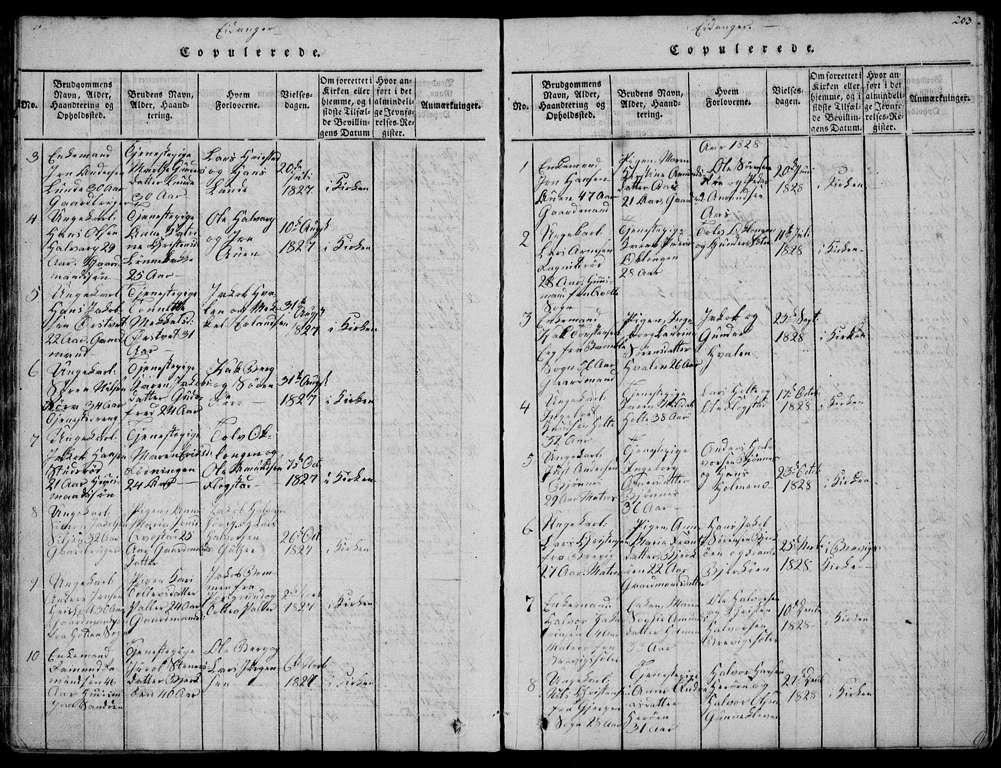 SAKO, Eidanger kirkebøker, F/Fa/L0007: Ministerialbok nr. 7, 1814-1831, s. 203