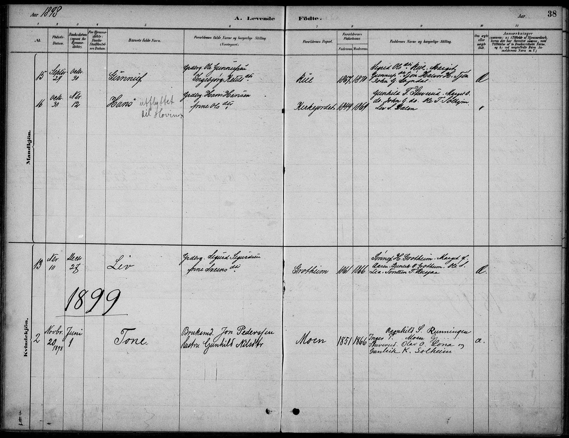 SAKO, Hjartdal kirkebøker, F/Fc/L0002: Ministerialbok nr. III 2, 1880-1936, s. 38