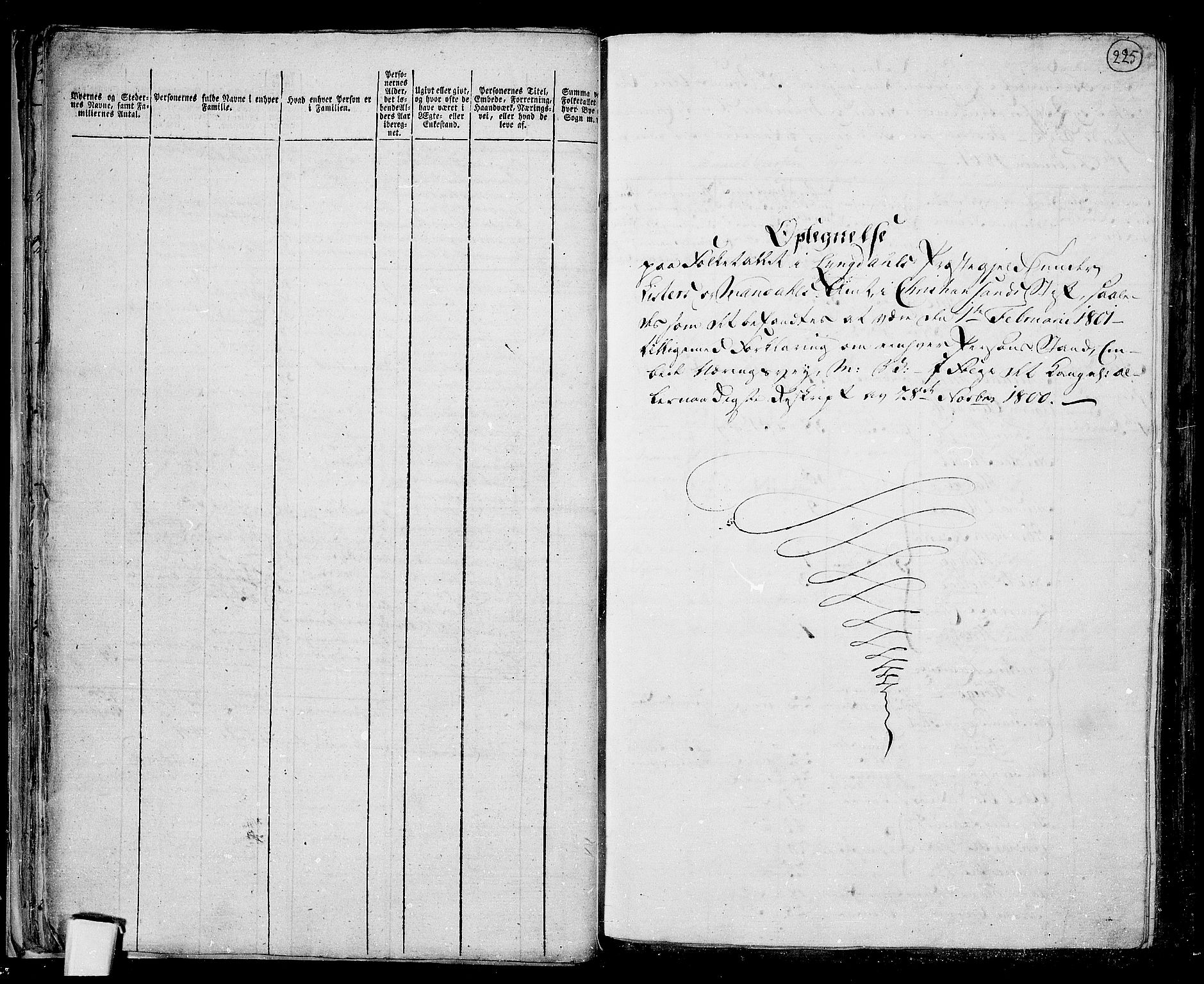 RA, Folketelling 1801 for 1032P Lyngdal prestegjeld, 1801, s. 224b-225a