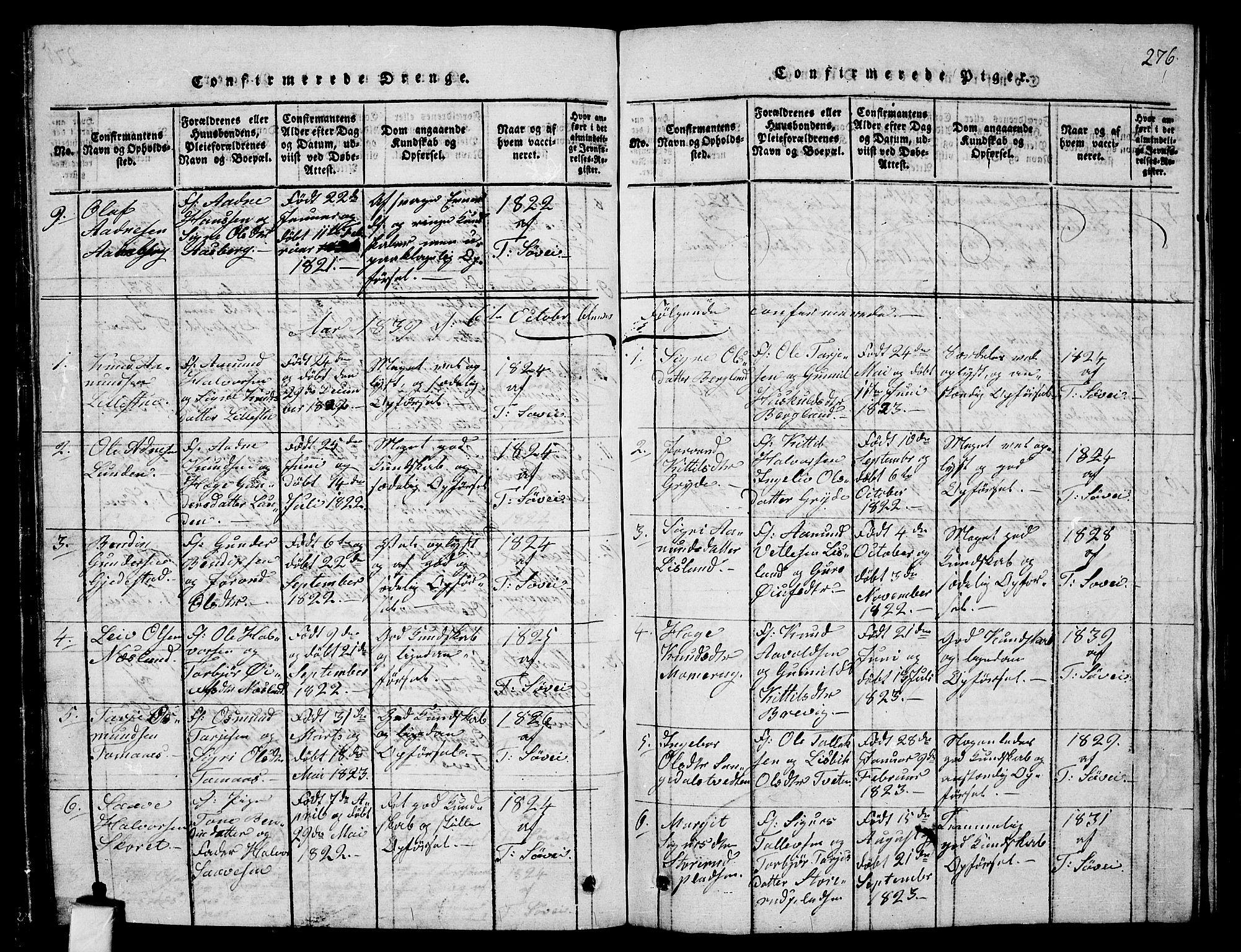 SAKO, Fyresdal kirkebøker, G/Ga/L0001: Klokkerbok nr. I 1, 1816-1840, s. 276