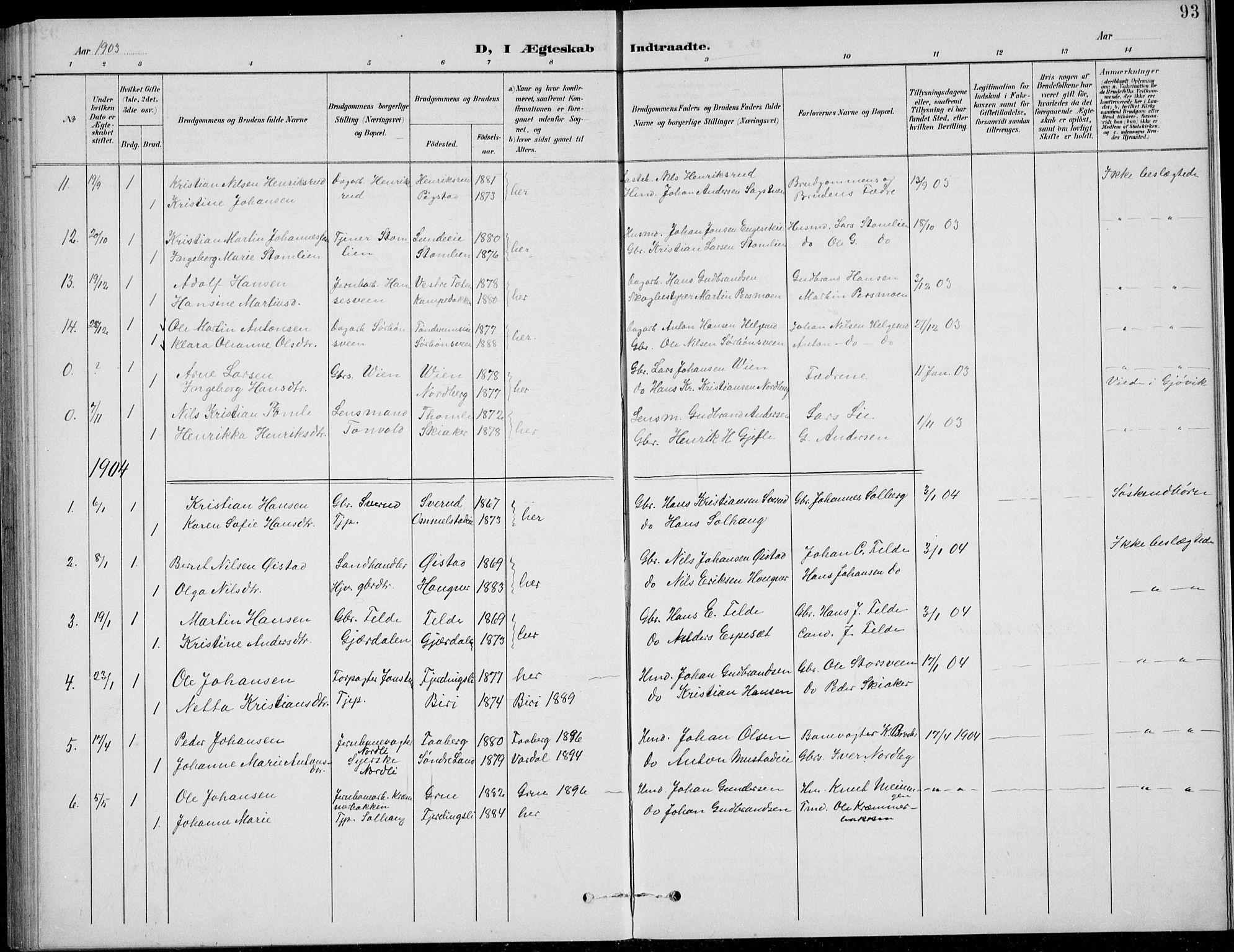 SAH, Nordre Land prestekontor, Klokkerbok nr. 14, 1891-1907, s. 93