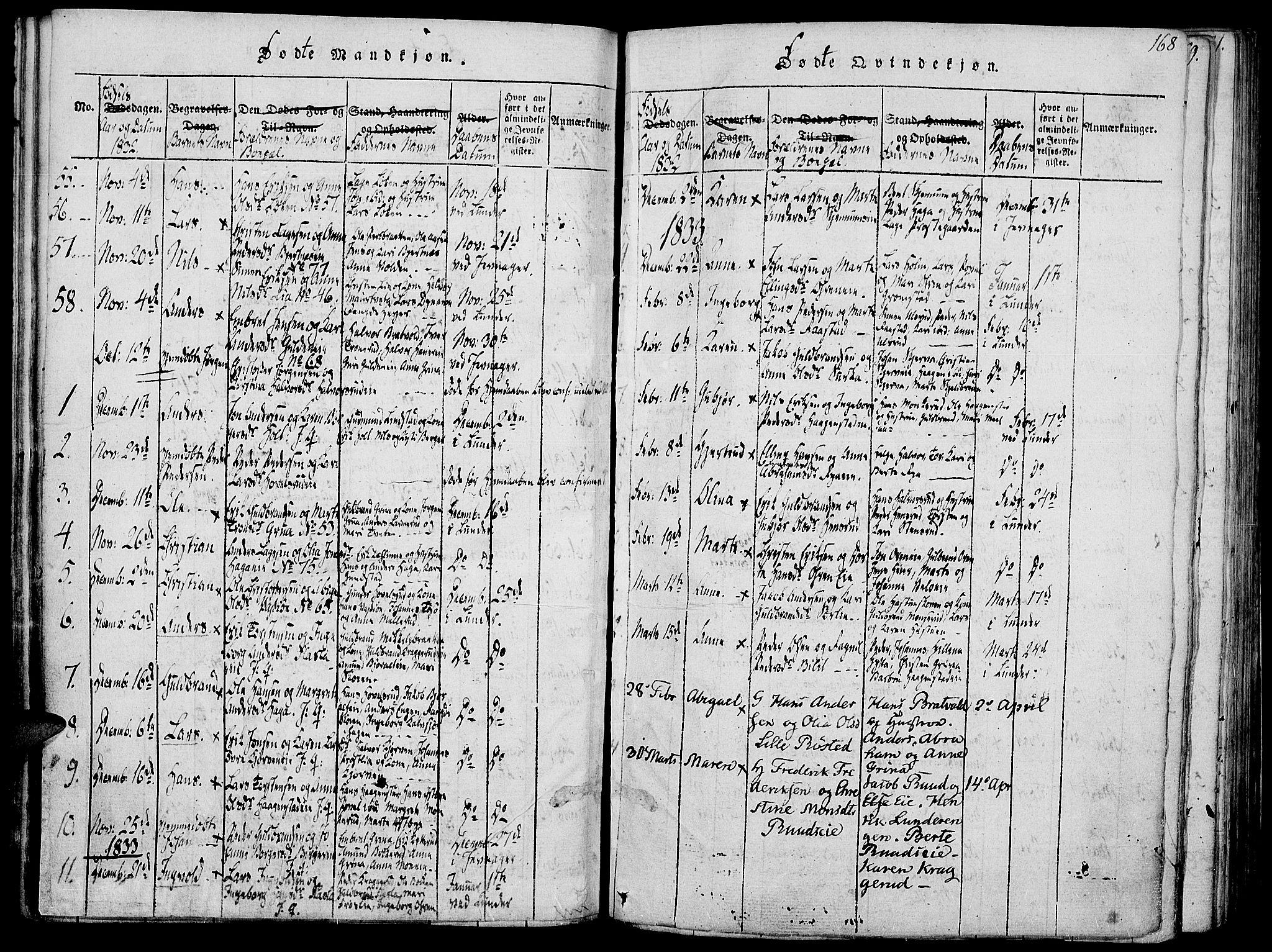 SAH, Jevnaker prestekontor, Ministerialbok nr. 5, 1815-1837, s. 168