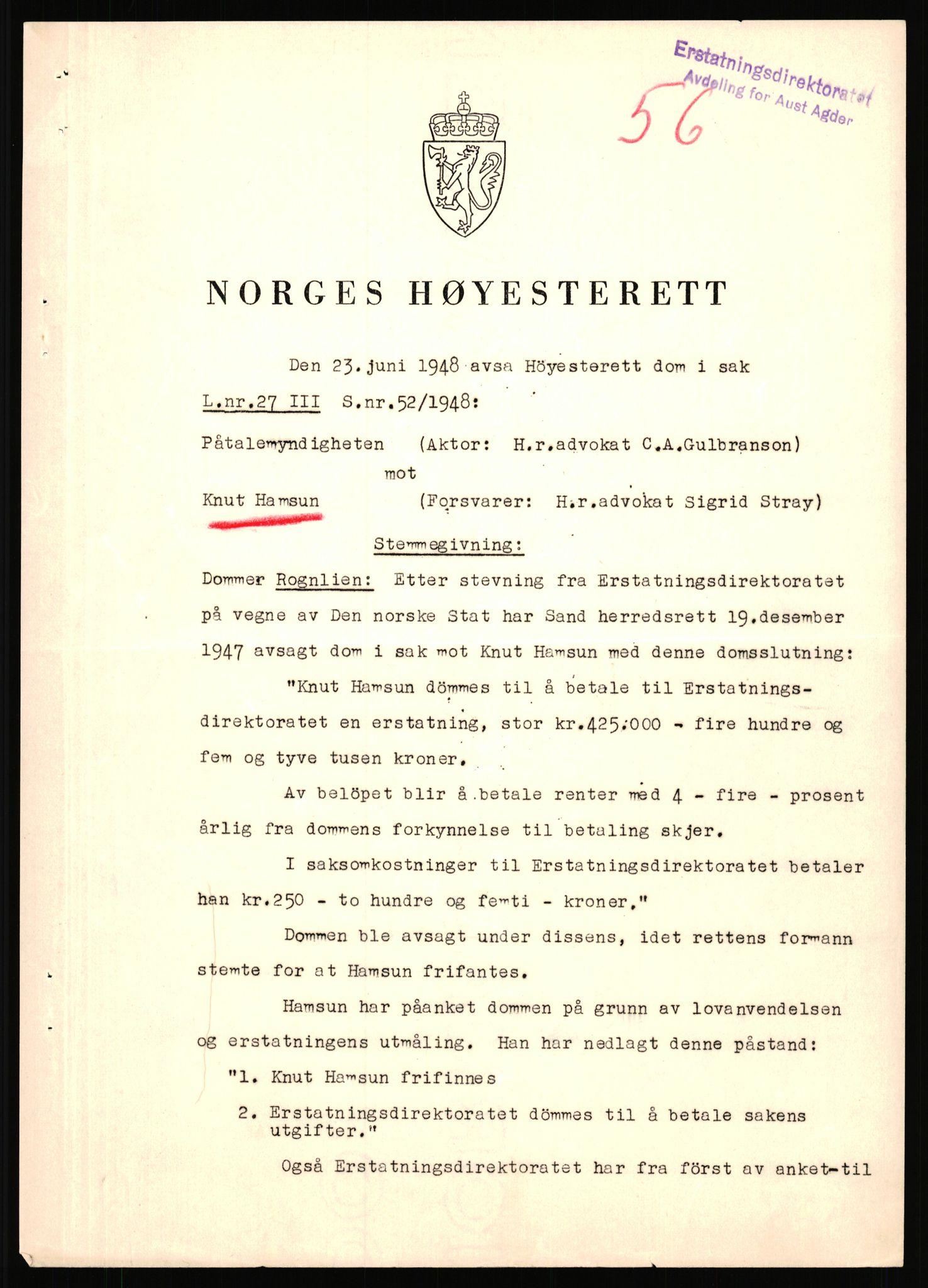 RA, Landssvikarkivet, Arendal politikammer, D/Dc/L0029: Anr. 192/45, 1945-1951, s. 597
