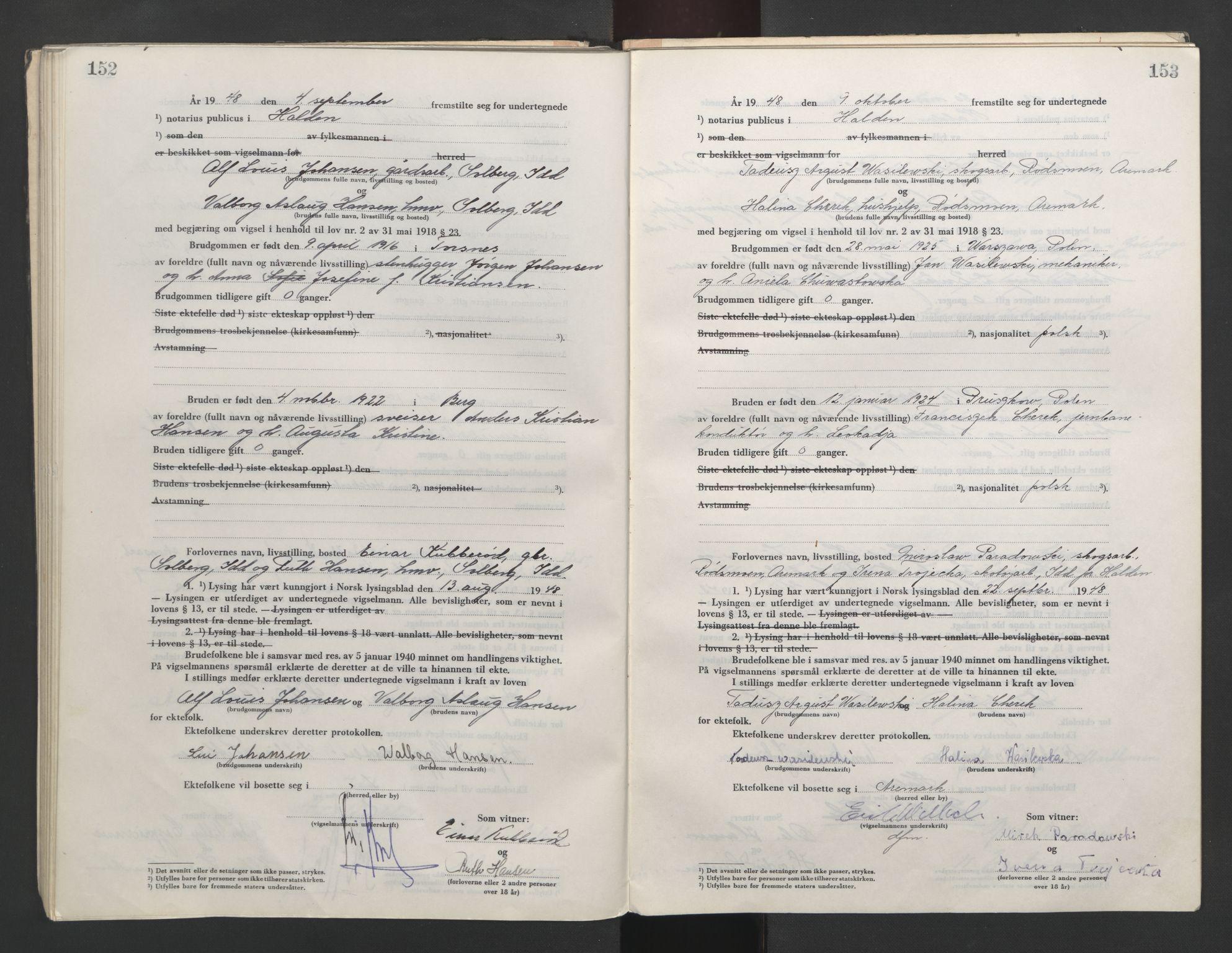 SAO, Idd og Marker sorenskriveri, L/Lc/L0001: Vigselsbøker, 1945-1949, s. 152-153