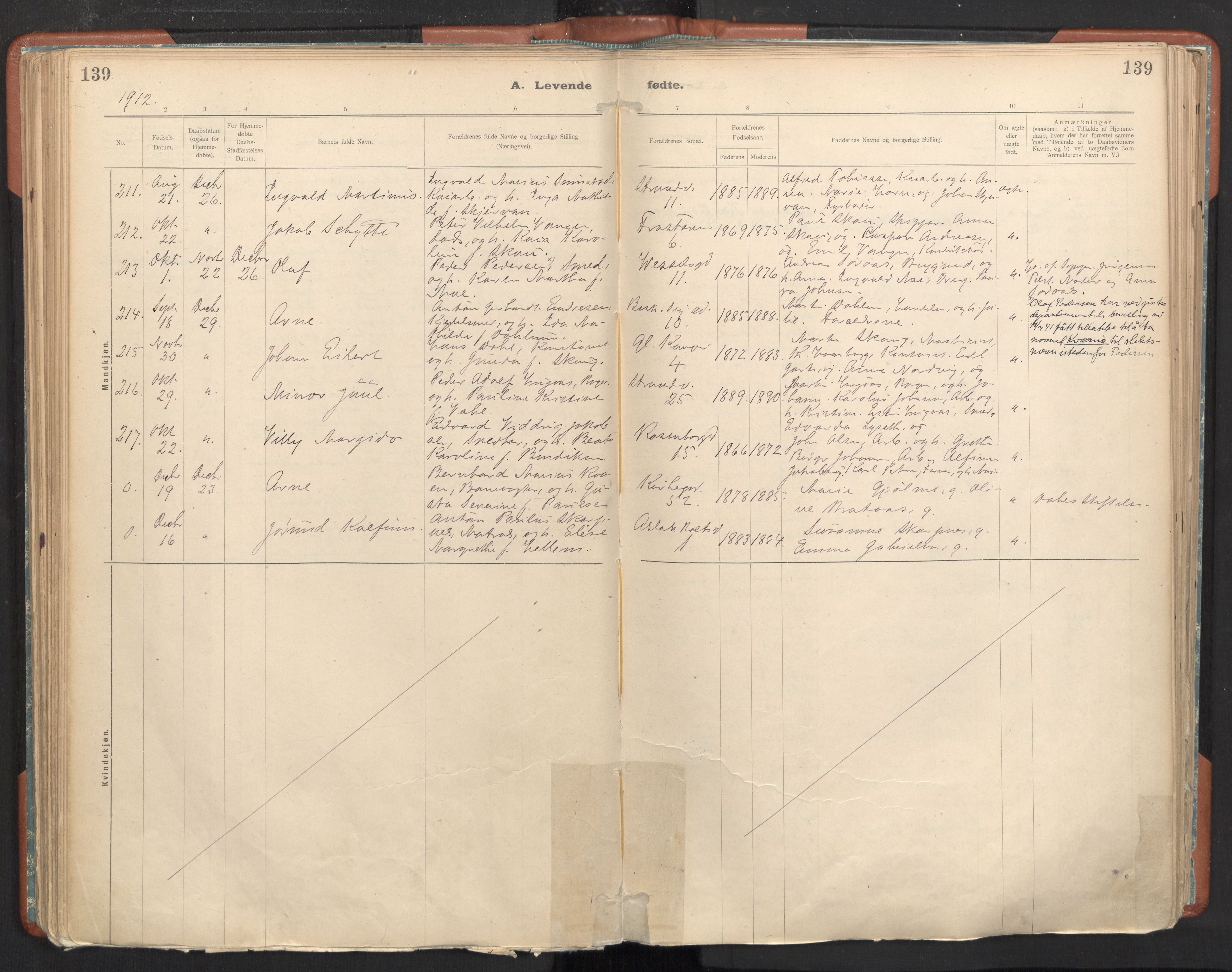 SAT, Ministerialprotokoller, klokkerbøker og fødselsregistre - Sør-Trøndelag, 605/L0243: Ministerialbok nr. 605A05, 1908-1923, s. 139