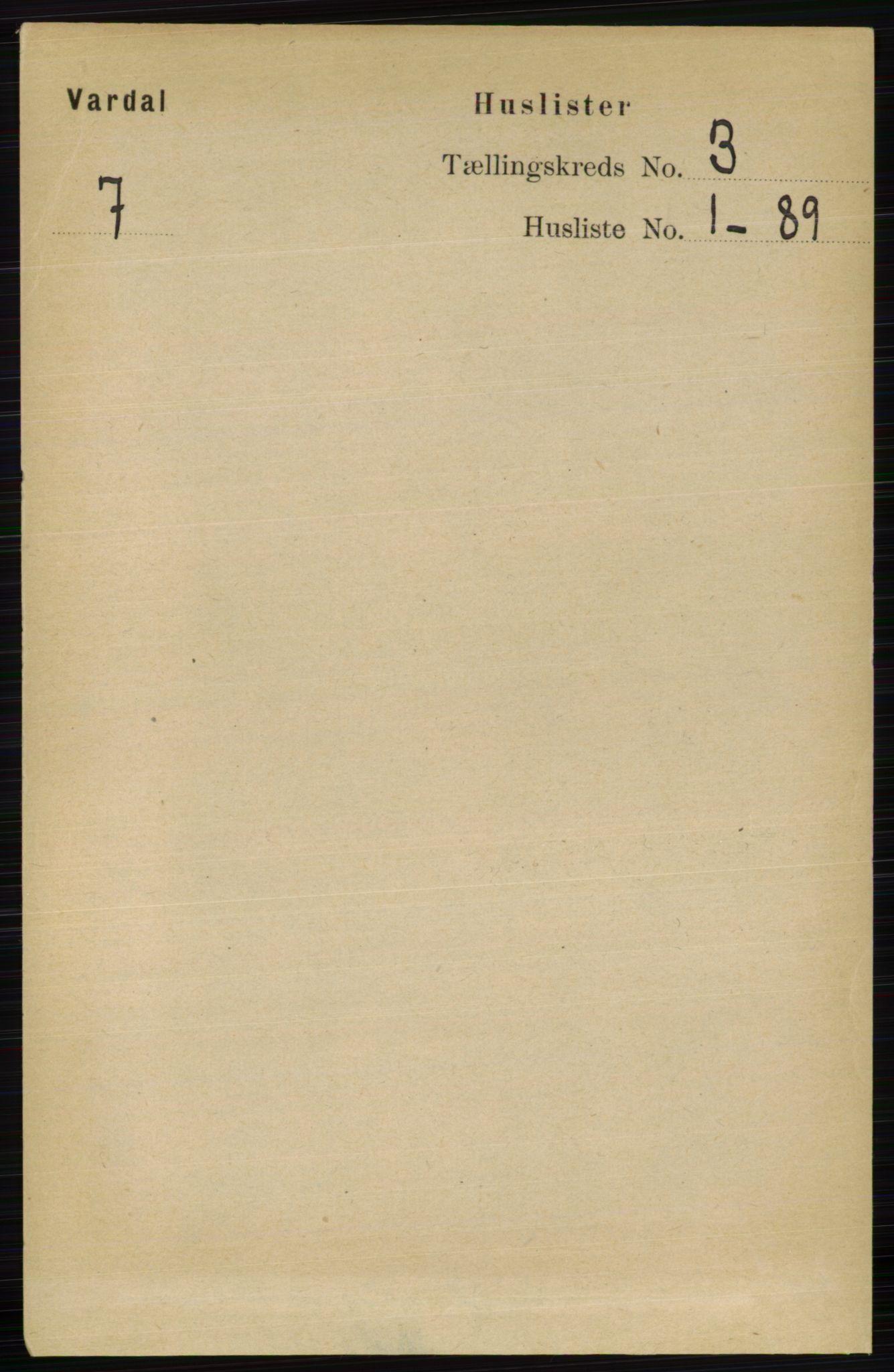 RA, Folketelling 1891 for 0527 Vardal herred, 1891, s. 885