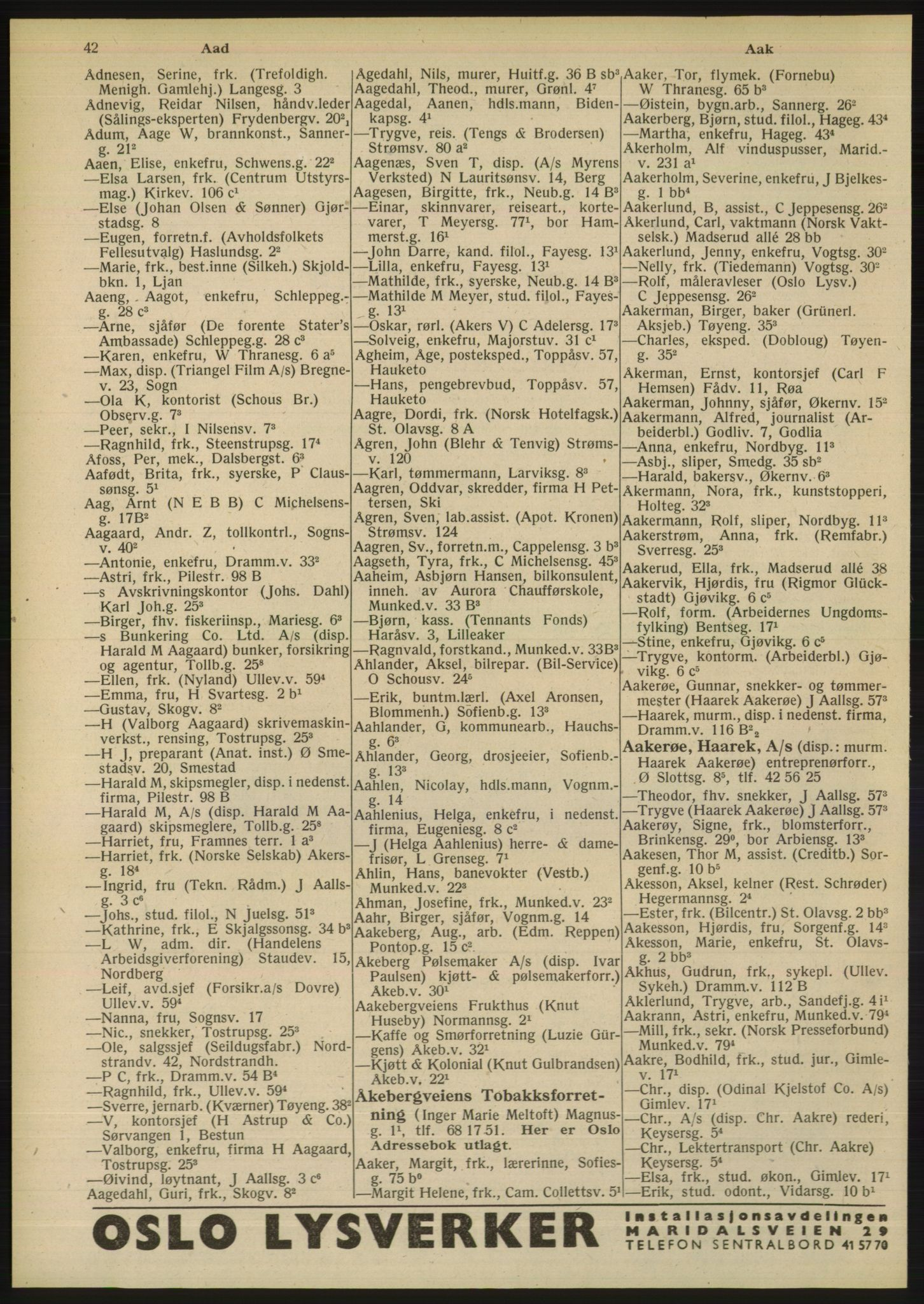 PUBL, Kristiania/Oslo adressebok, 1948, s. 42