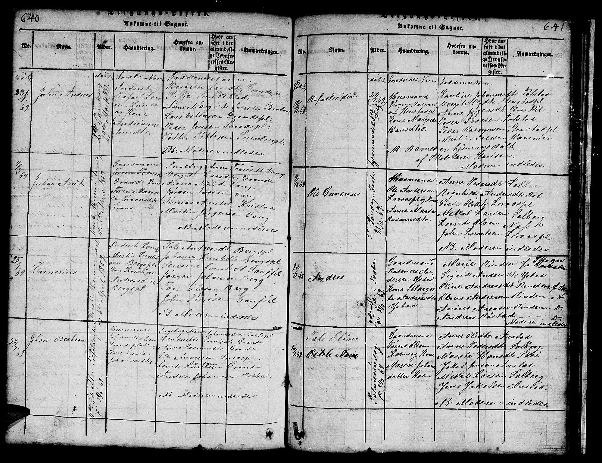 SAT, Ministerialprotokoller, klokkerbøker og fødselsregistre - Nord-Trøndelag, 731/L0310: Klokkerbok nr. 731C01, 1816-1874, s. 640-641