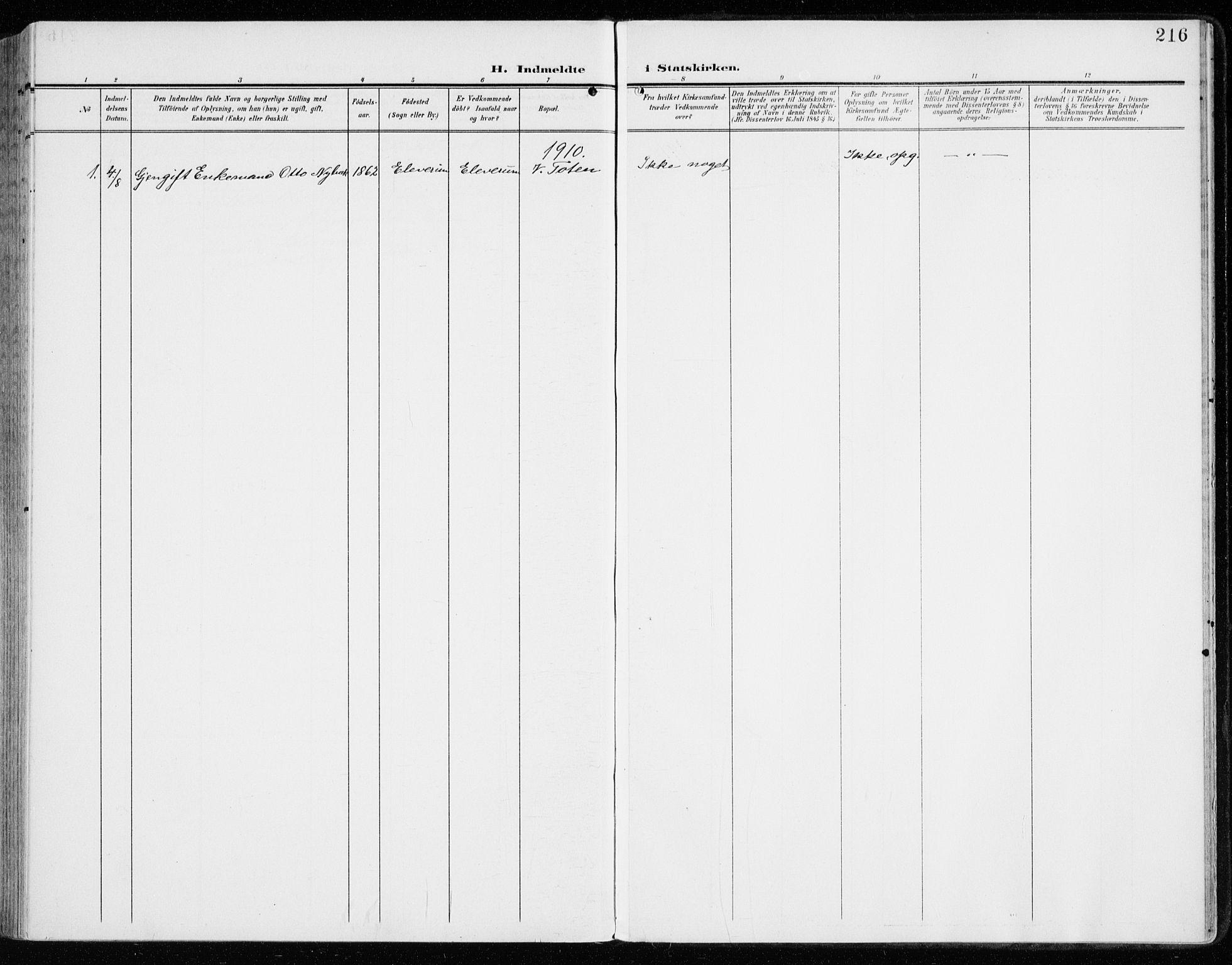 SAH, Vardal prestekontor, H/Ha/Haa/L0016: Ministerialbok nr. 16, 1904-1916, s. 216