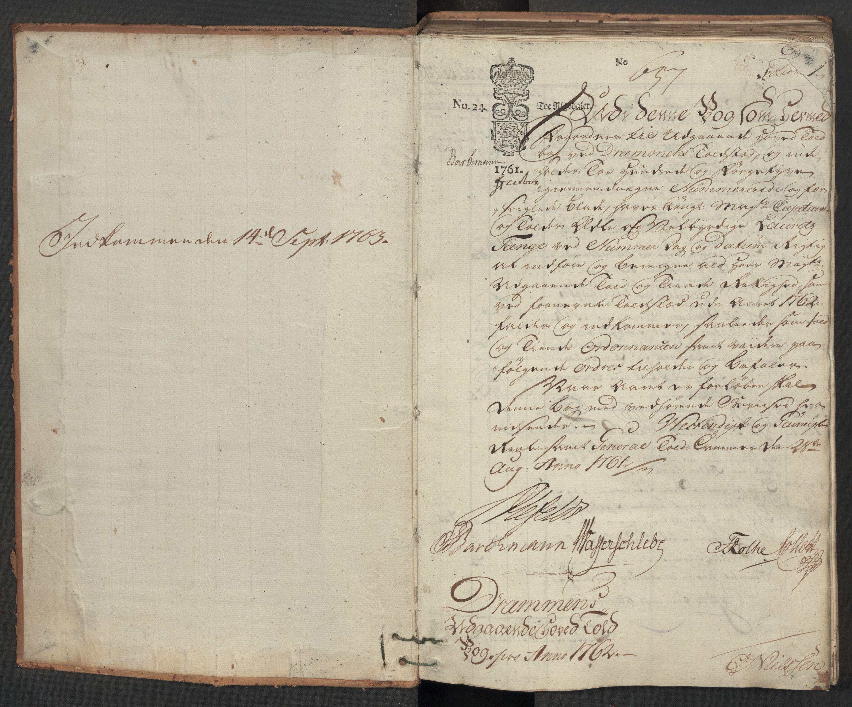 RA, Generaltollkammeret, tollregnskaper, R08/L0054: Tollregnskaper Drammen, 1762, s. 1a