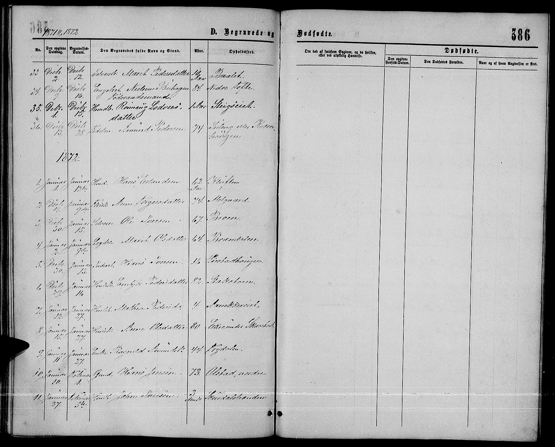 SAH, Sør-Fron prestekontor, H/Ha/Hab/L0002: Klokkerbok nr. 2, 1864-1883, s. 386
