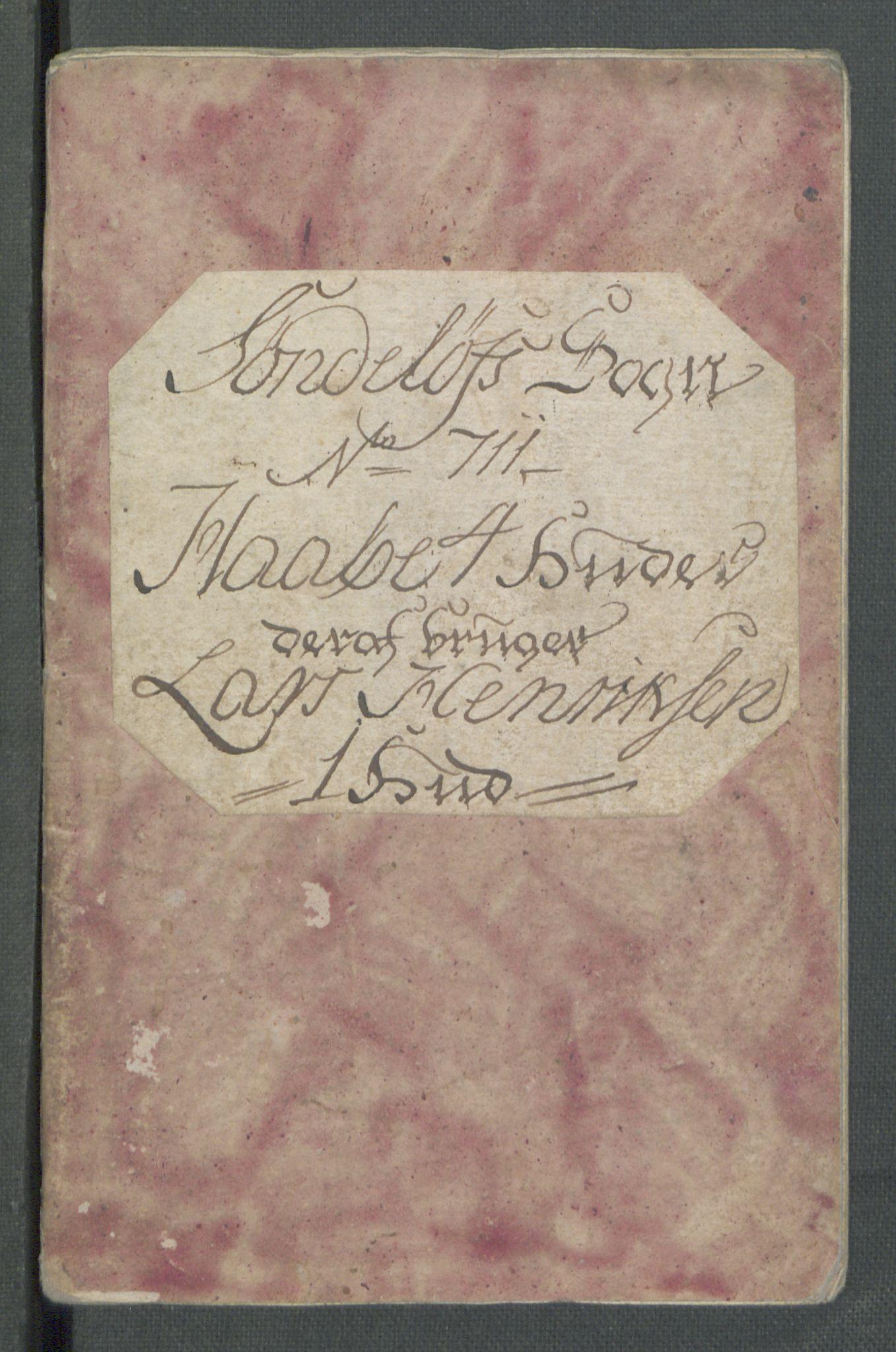 RA, Rentekammeret inntil 1814, Realistisk ordnet avdeling, Od/L0001: Oppløp, 1786-1769, s. 311
