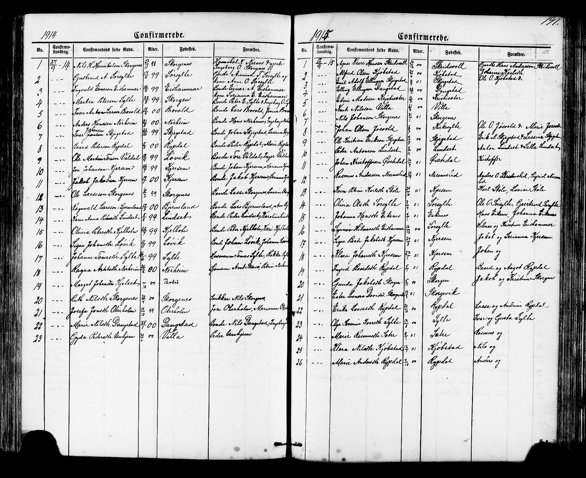 SAT, Ministerialprotokoller, klokkerbøker og fødselsregistre - Møre og Romsdal, 541/L0547: Klokkerbok nr. 541C02, 1867-1921, s. 191