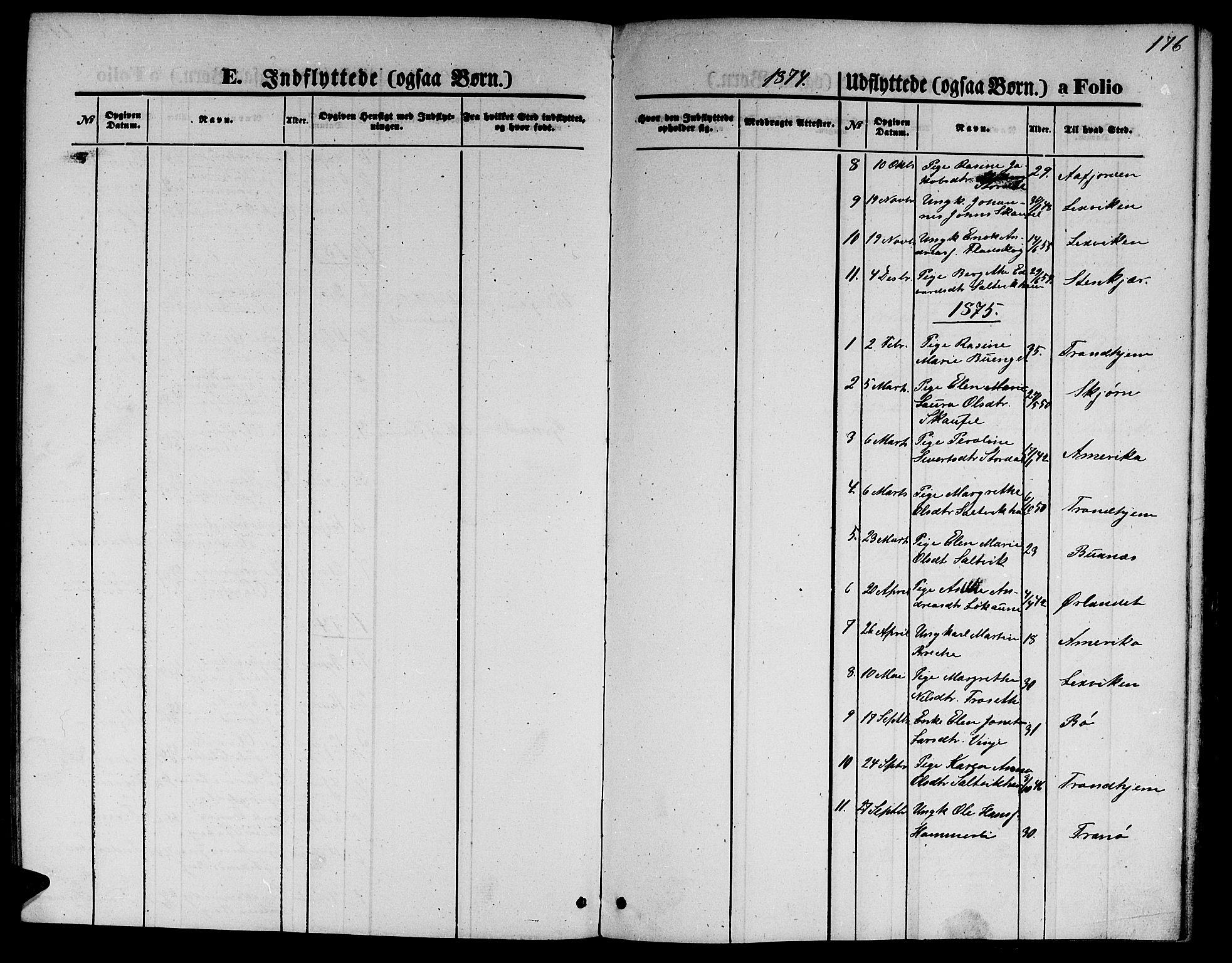 SAT, Ministerialprotokoller, klokkerbøker og fødselsregistre - Nord-Trøndelag, 733/L0326: Klokkerbok nr. 733C01, 1871-1887, s. 176