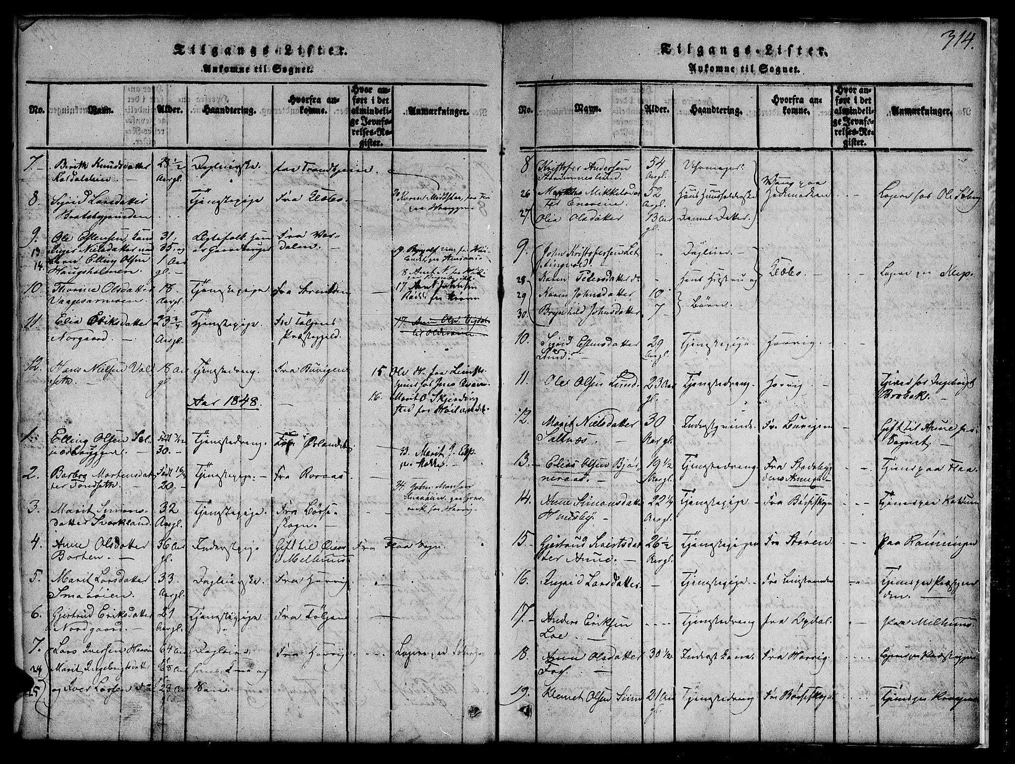 SAT, Ministerialprotokoller, klokkerbøker og fødselsregistre - Sør-Trøndelag, 691/L1092: Klokkerbok nr. 691C03, 1816-1852, s. 314