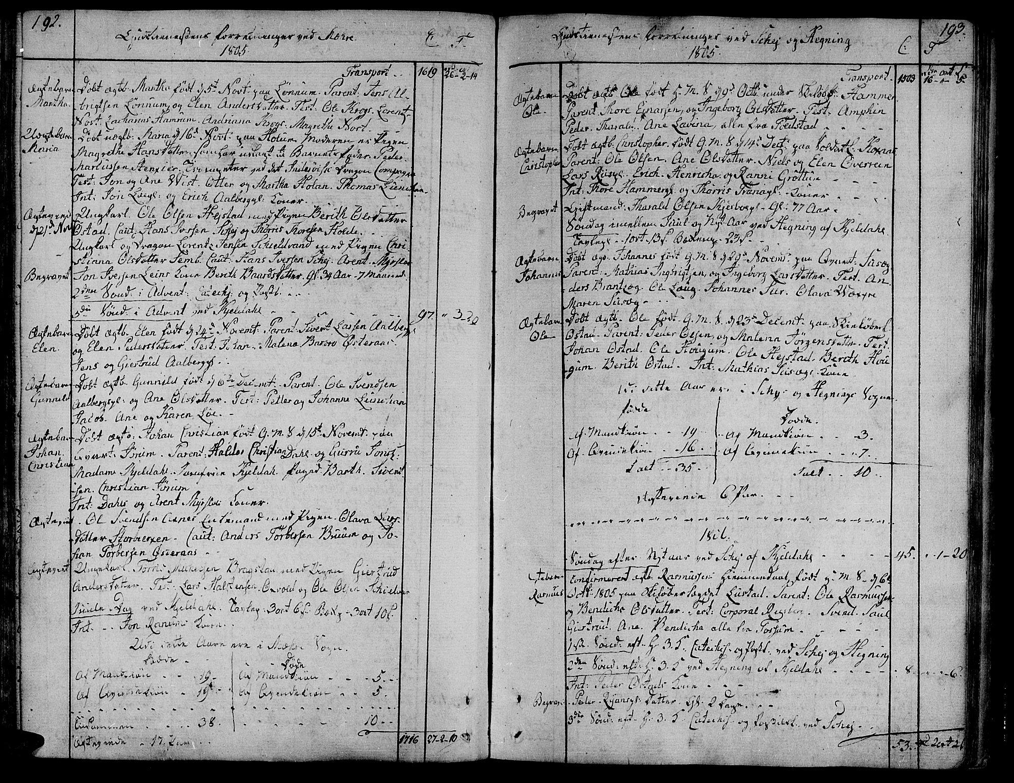 SAT, Ministerialprotokoller, klokkerbøker og fødselsregistre - Nord-Trøndelag, 735/L0332: Ministerialbok nr. 735A03, 1795-1816, s. 192-193