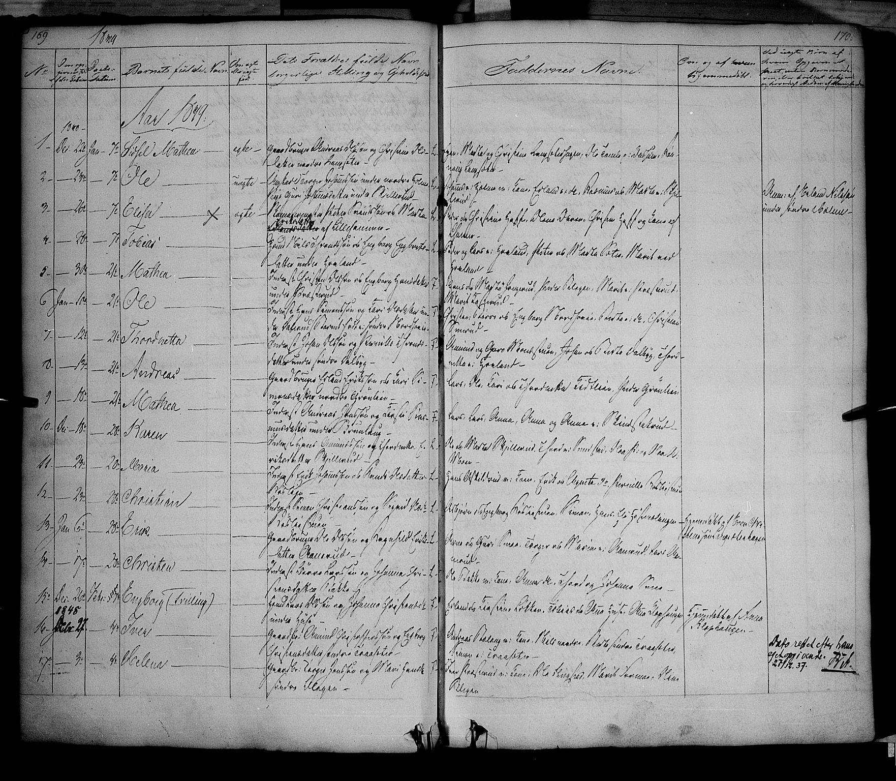 SAH, Fåberg prestekontor, Ministerialbok nr. 5, 1836-1854, s. 169-170