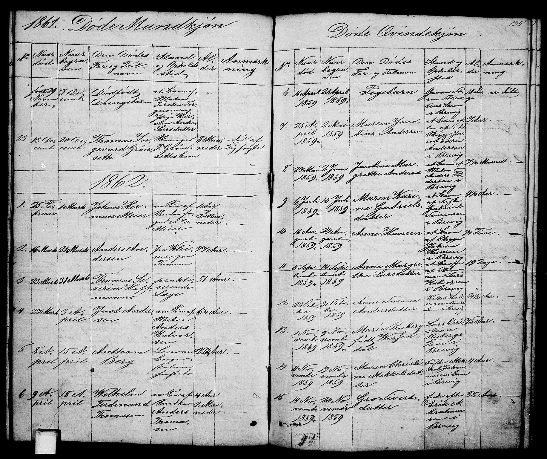 SAKO, Brevik kirkebøker, G/Ga/L0002: Klokkerbok nr. 2, 1846-1865, s. 135