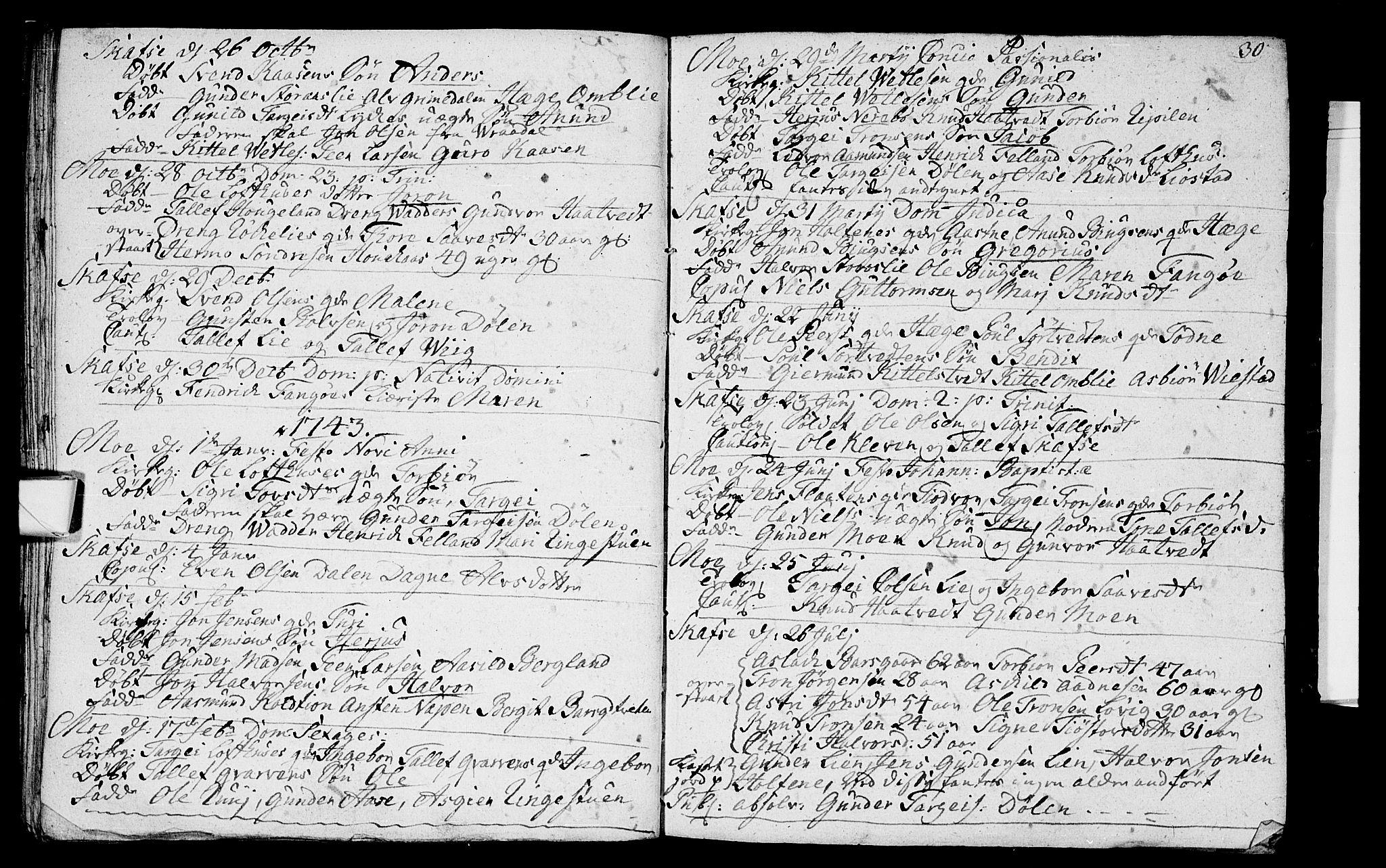 SAKO, Mo kirkebøker, F/Fa/L0001: Ministerialbok nr. I 1, 1724-1748, s. 30