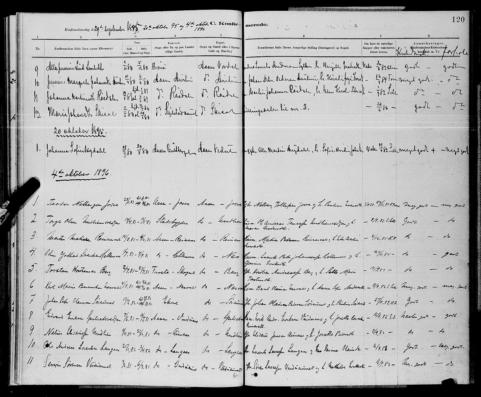 SAT, Ministerialprotokoller, klokkerbøker og fødselsregistre - Nord-Trøndelag, 714/L0134: Klokkerbok nr. 714C03, 1878-1898, s. 120