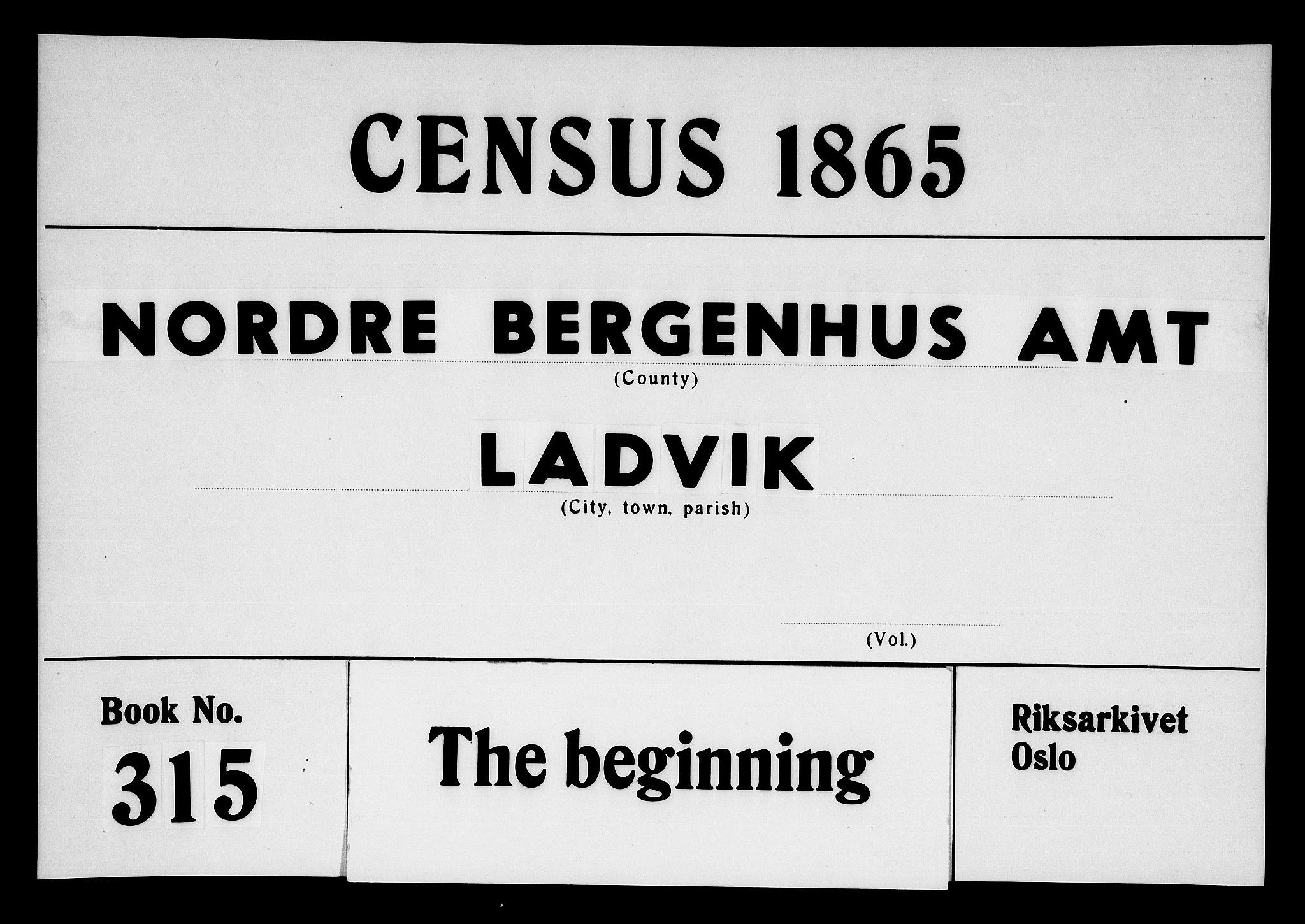 RA, Folketelling 1865 for 1415P Lavik prestegjeld, 1865, s. 1