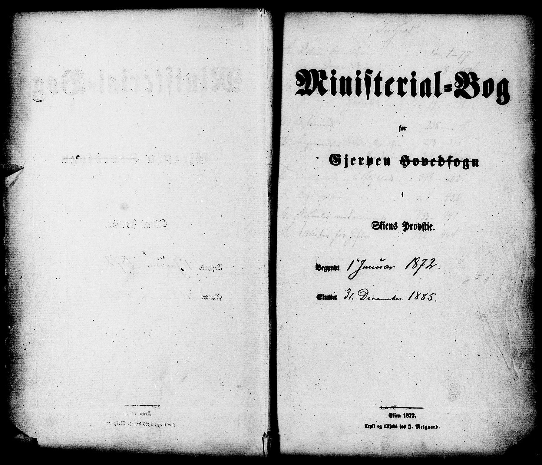 SAKO, Gjerpen kirkebøker, F/Fa/L0009: Ministerialbok nr. 9, 1872-1885