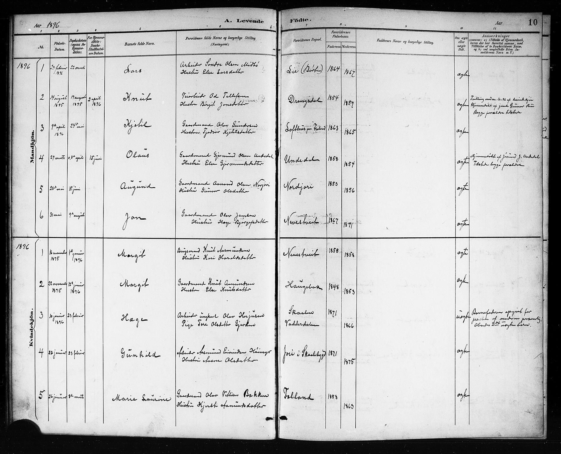 SAKO, Mo kirkebøker, G/Ga/L0002: Klokkerbok nr. I 2, 1892-1914, s. 10