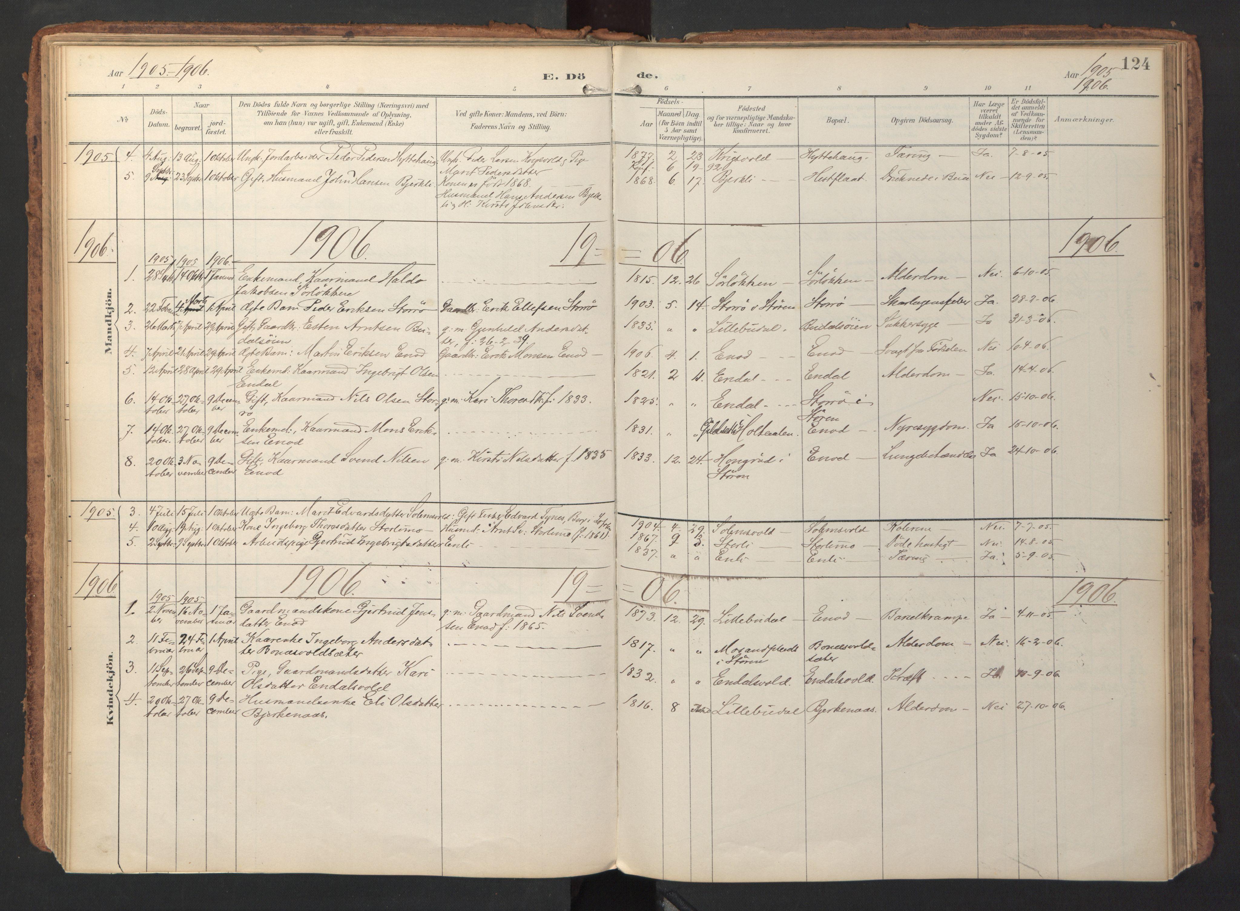 SAT, Ministerialprotokoller, klokkerbøker og fødselsregistre - Sør-Trøndelag, 690/L1050: Ministerialbok nr. 690A01, 1889-1929, s. 124
