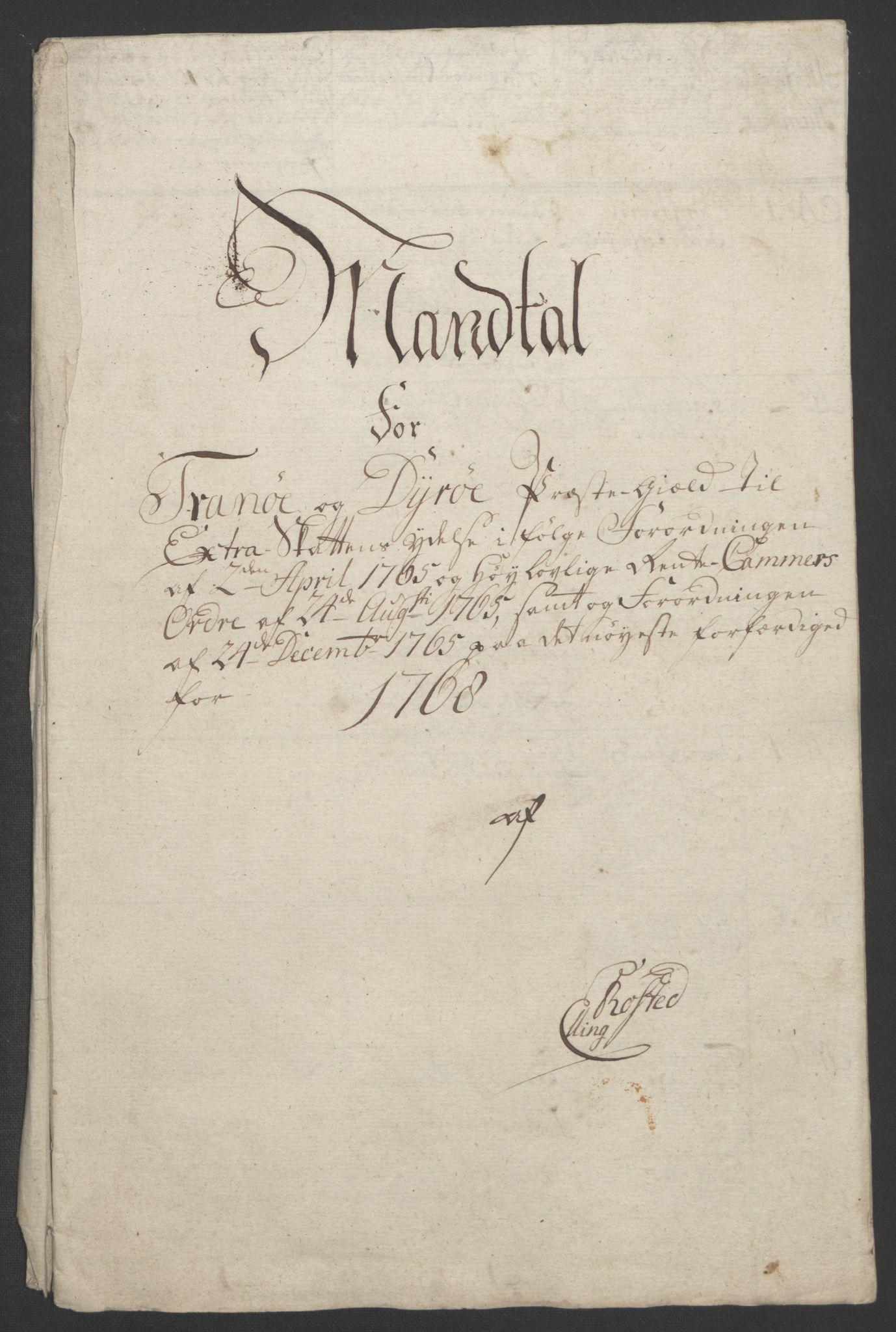 RA, Rentekammeret inntil 1814, Realistisk ordnet avdeling, Ol/L0022b: [Gg 10]: Ekstraskatten, 23.09.1762. Senja og Troms, 1765-1768, s. 252