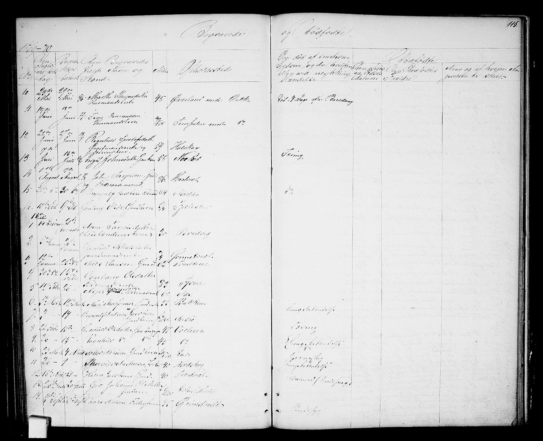 SAKO, Nissedal kirkebøker, G/Ga/L0002: Klokkerbok nr. I 2, 1861-1887, s. 115