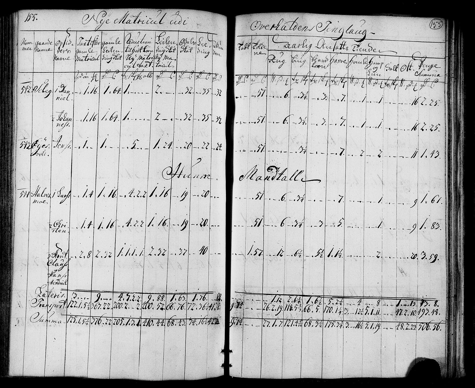 RA, Rentekammeret inntil 1814, Realistisk ordnet avdeling, N/Nb/Nbf/L0169: Namdalen matrikkelprotokoll, 1723, s. 154b-155a