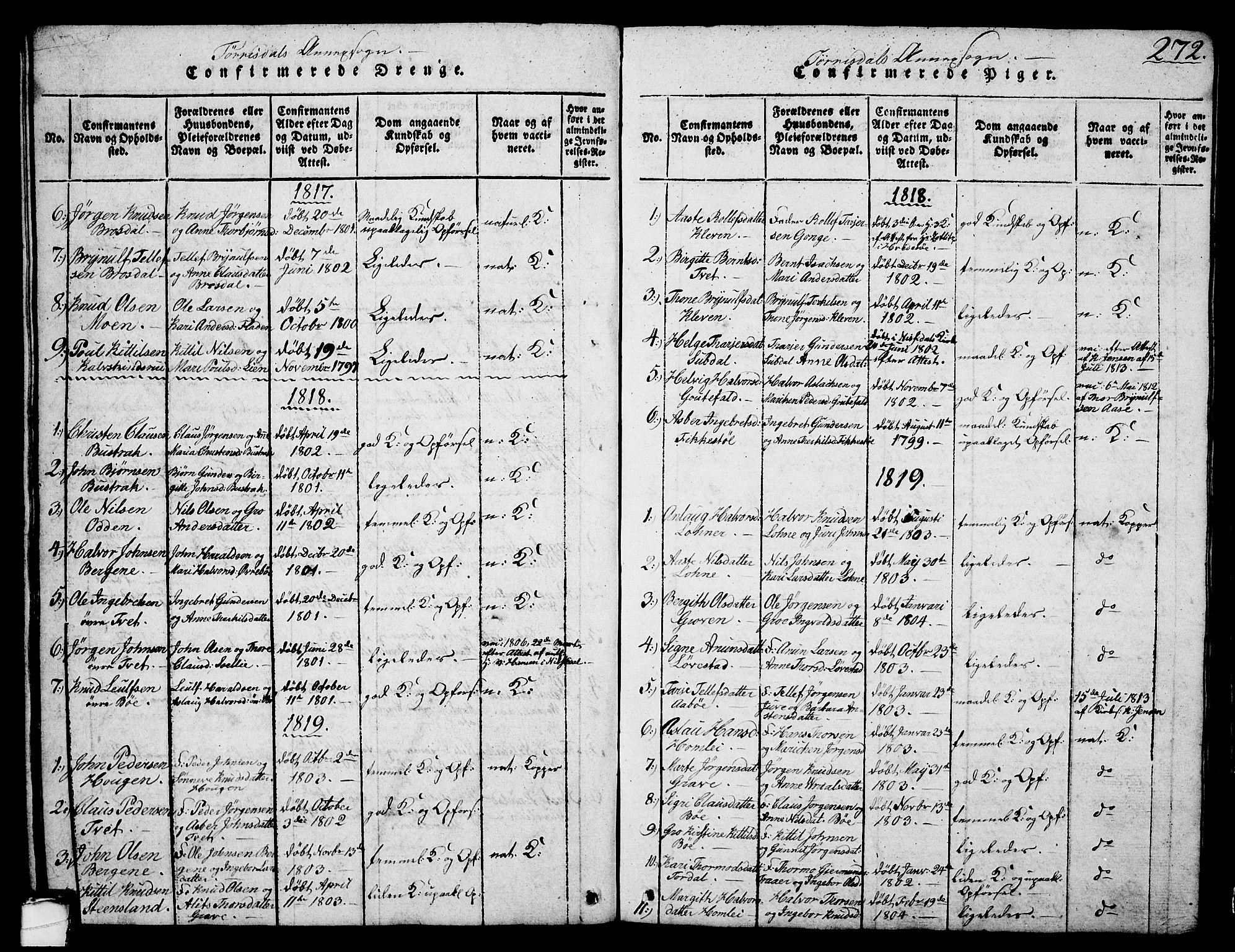 SAKO, Drangedal kirkebøker, G/Ga/L0001: Klokkerbok nr. I 1 /2, 1814-1856, s. 272