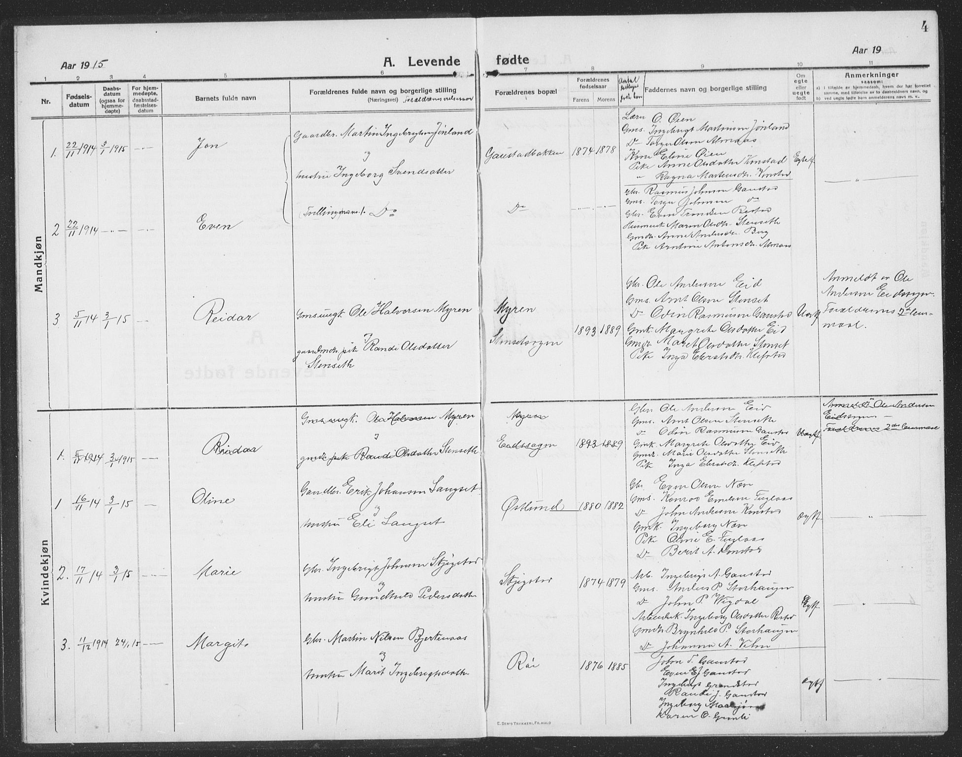 SAT, Ministerialprotokoller, klokkerbøker og fødselsregistre - Sør-Trøndelag, 694/L1134: Klokkerbok nr. 694C06, 1915-1937, s. 4