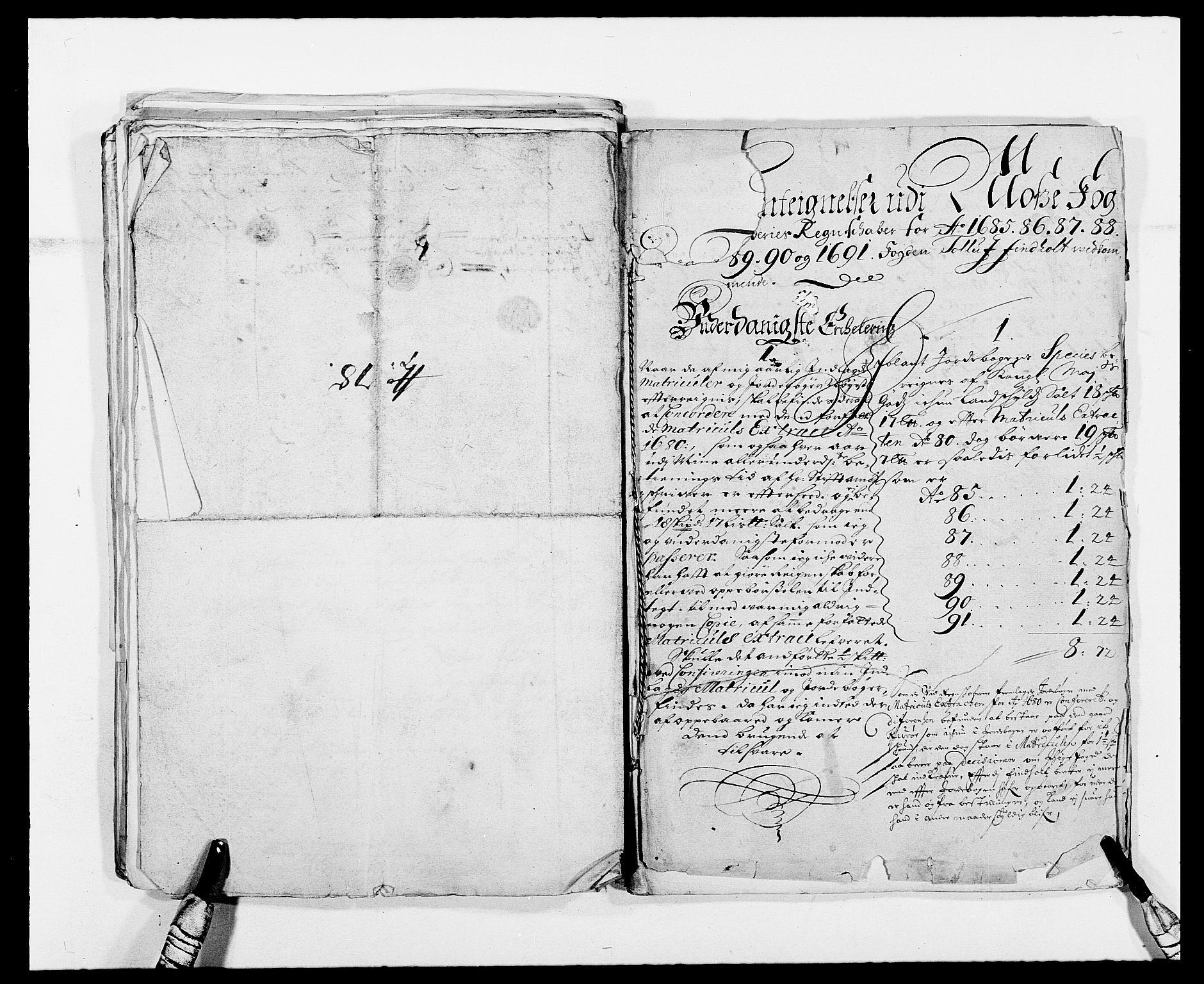 RA, Rentekammeret inntil 1814, Reviderte regnskaper, Fogderegnskap, R02/L0107: Fogderegnskap Moss og Verne kloster, 1685-1691, s. 364