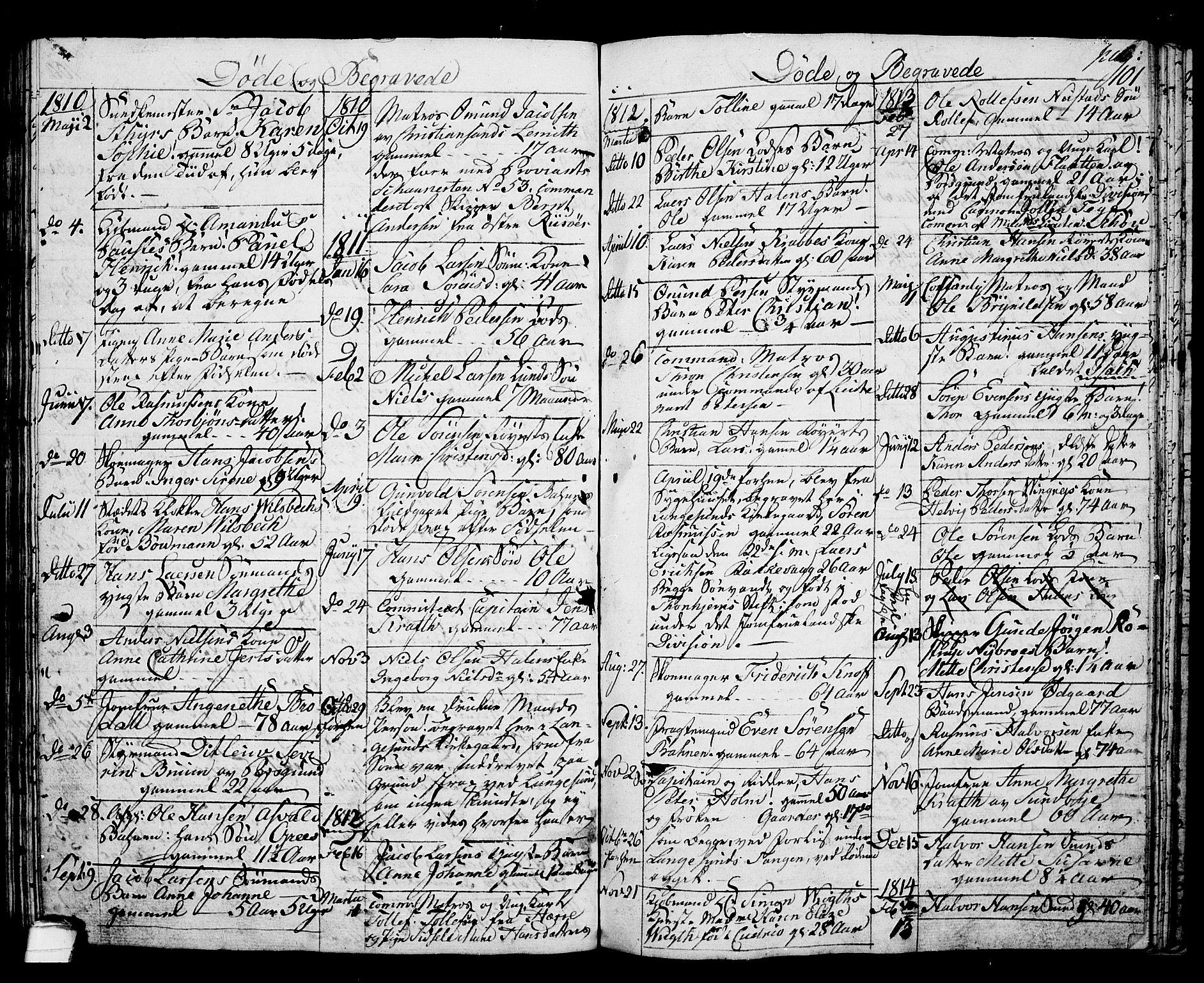 SAKO, Langesund kirkebøker, G/Ga/L0002: Klokkerbok nr. 2, 1801-1815, s. 101